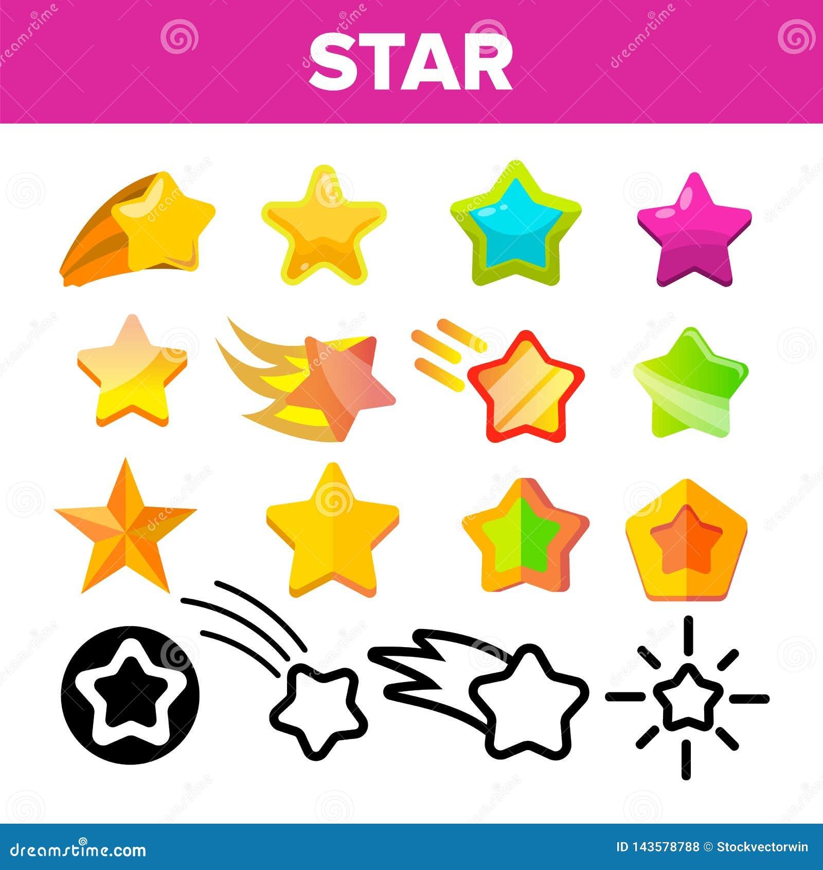 Gwiazdowej ikony ustalony wektor Złociste Jaskrawe Gwiazdowe ikony Niebo kosmosu przedmiot Ratingowy znak Zwycięzcy kształt Linia