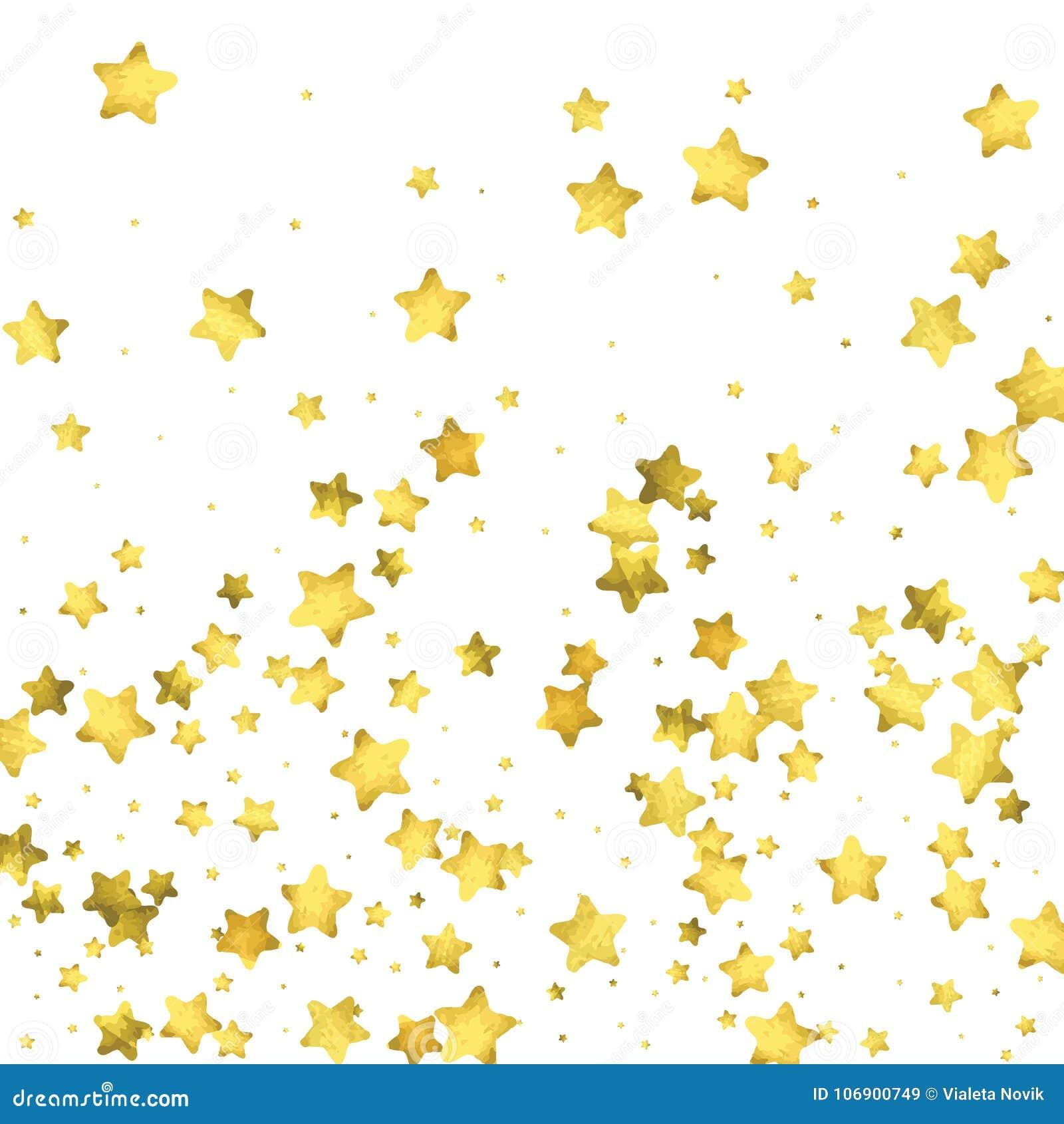 Gwiazdowi confetti Złocisty przypadkowy confetti tło