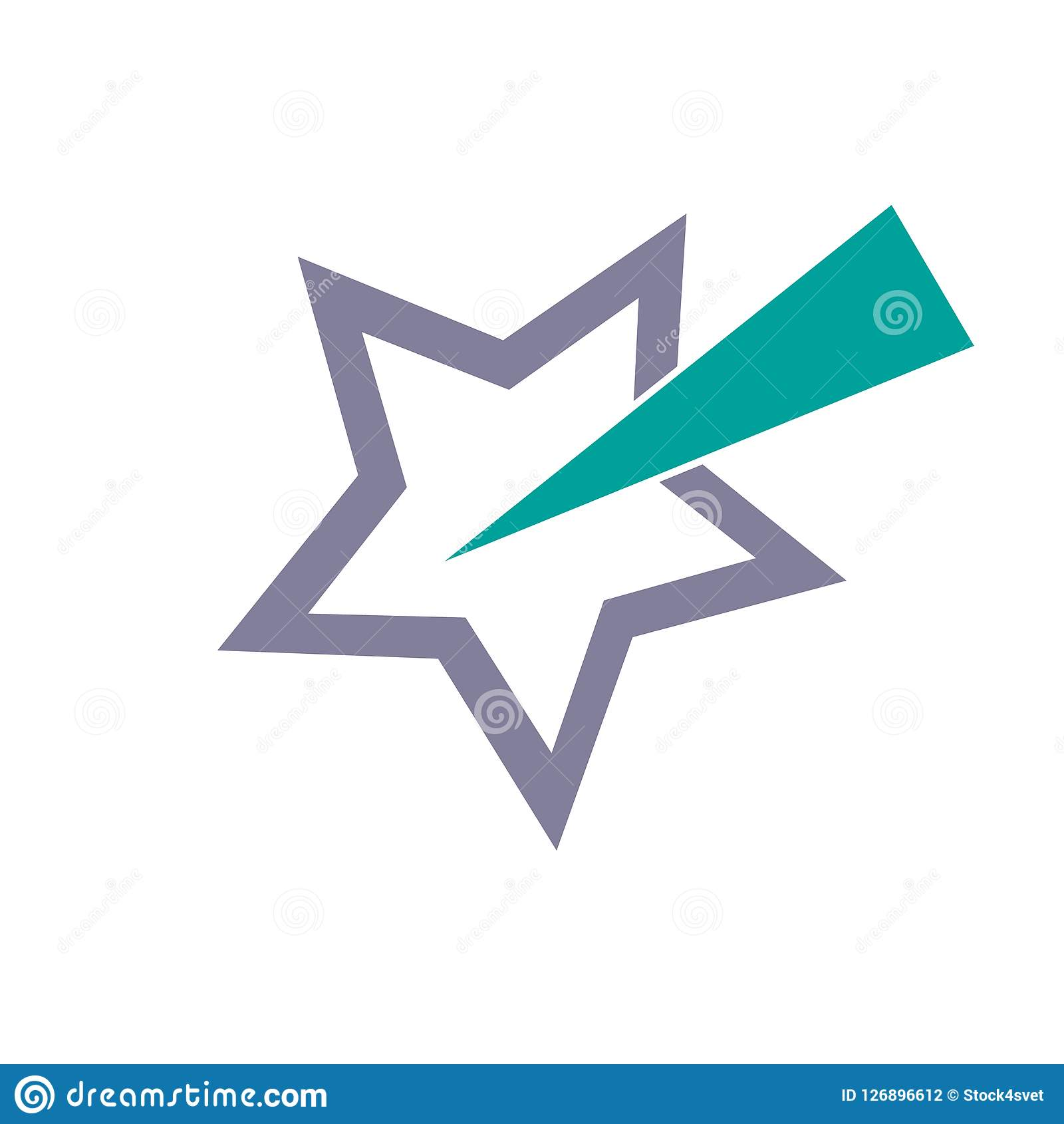 Gwiazdowy abstrakt, wektorowa ilustracja odizolowywająca na białym tle