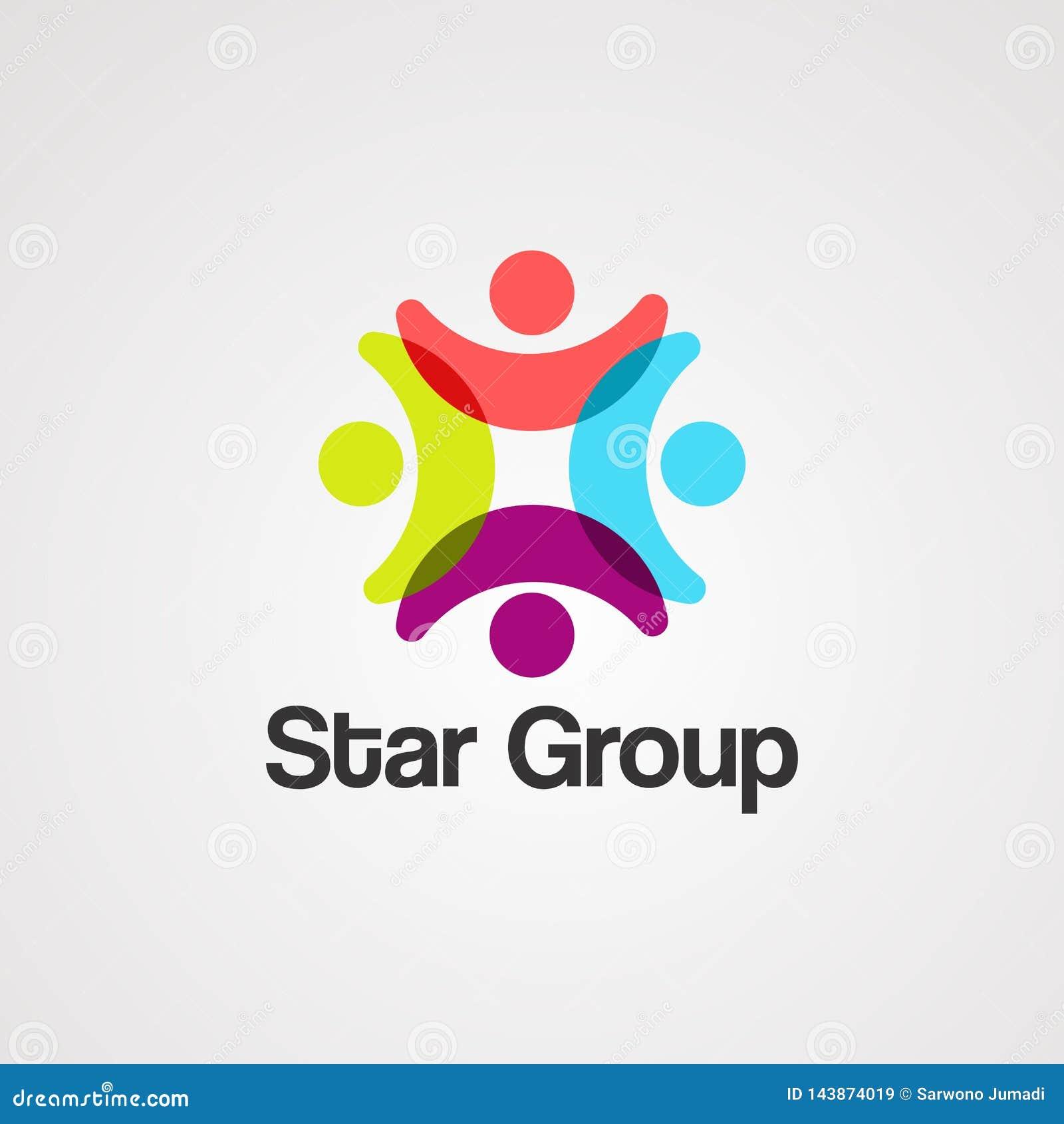Gwiazdowy grupowy logo wektor, ikona, element i szablon,