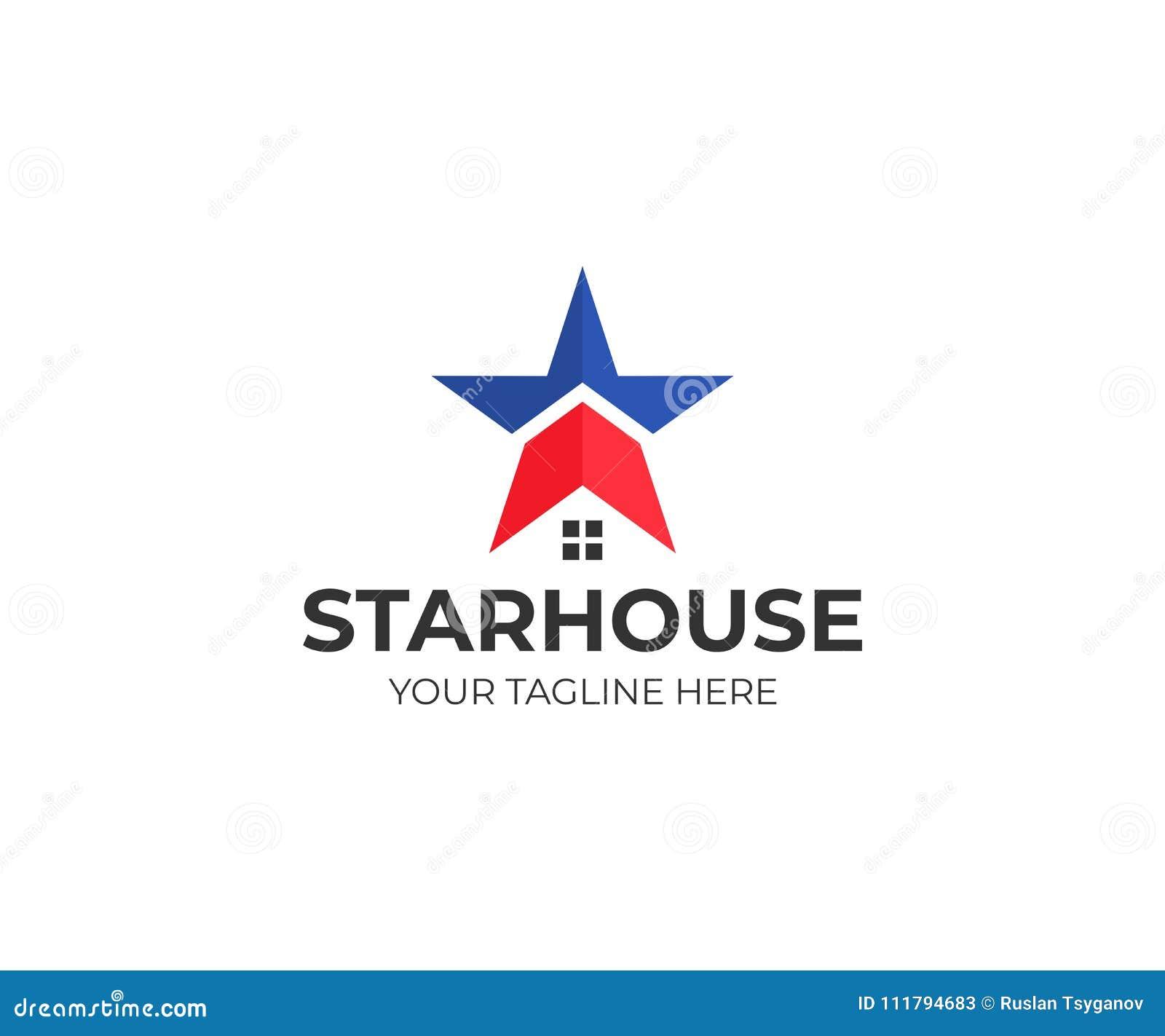Gwiazdowy i domowy loga szablon Amerykanina domowy wektorowy projekt