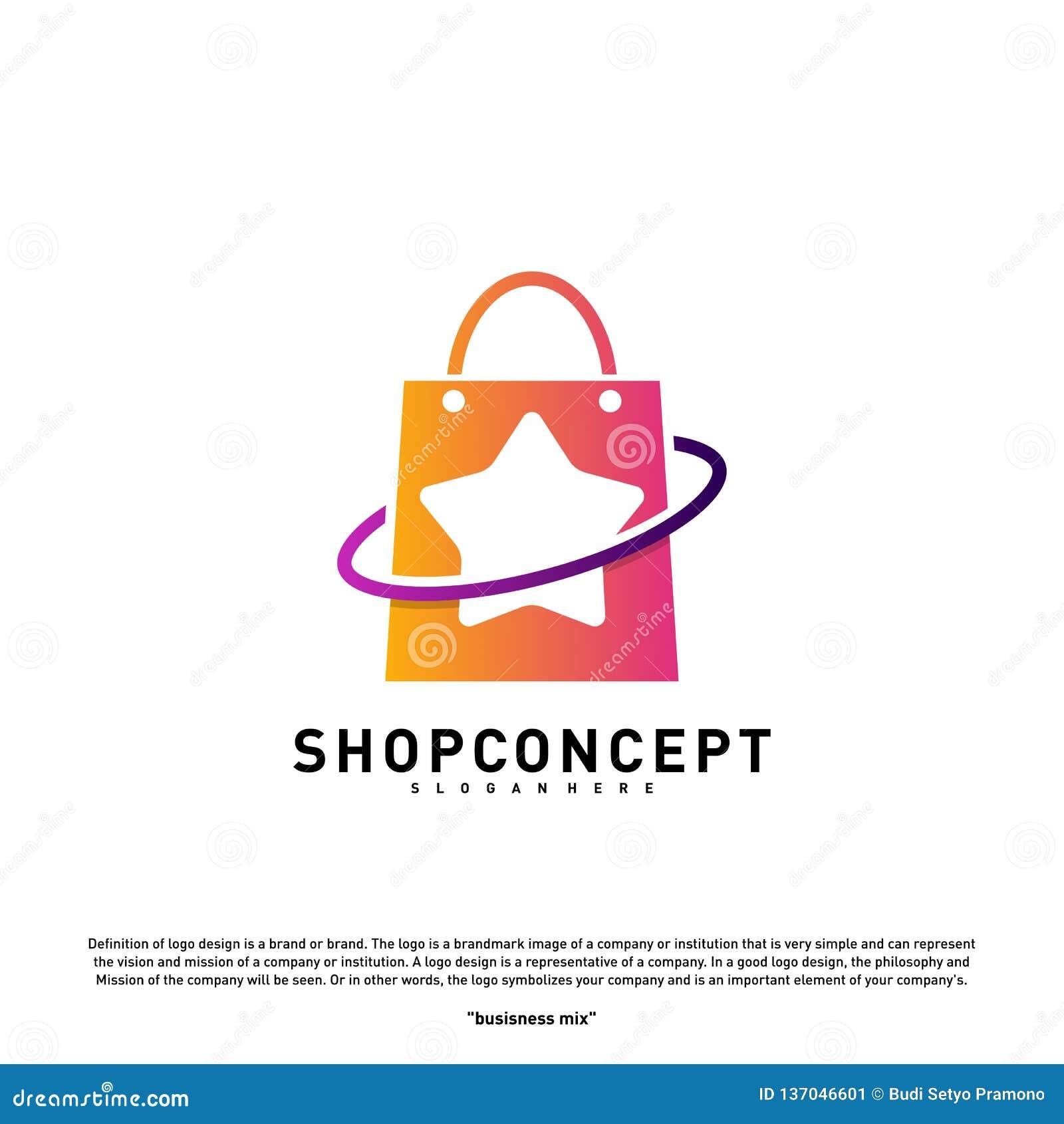 Gwiazdowy Sklepowy logo projekta pojęcie Centrum handlowe logo wektor Sklepu i prezentów symbol