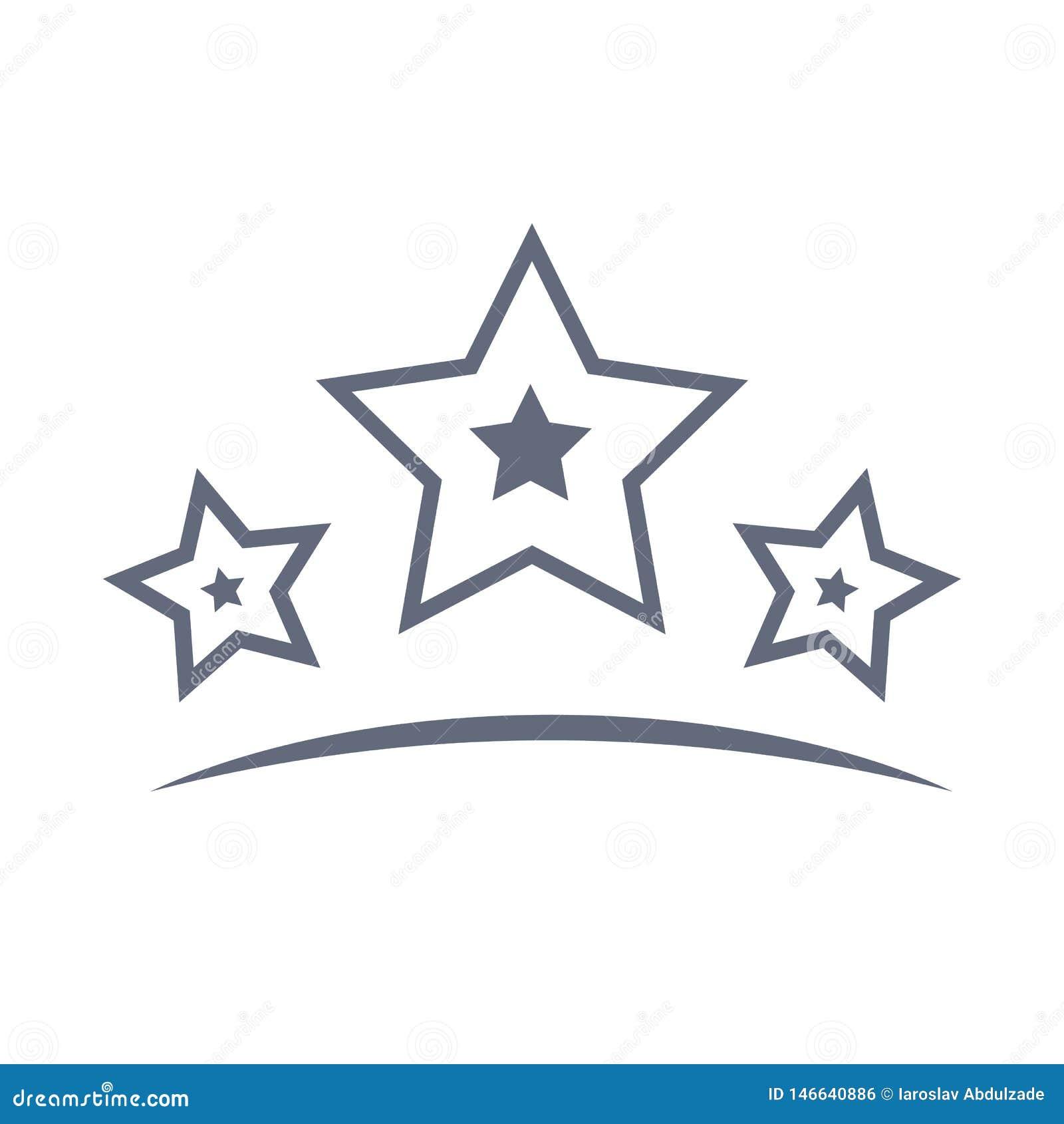 Gwiazdy wykładają ikonę lub logo w kreskowym stylu Wektorowy konturu piktogram dla infographic