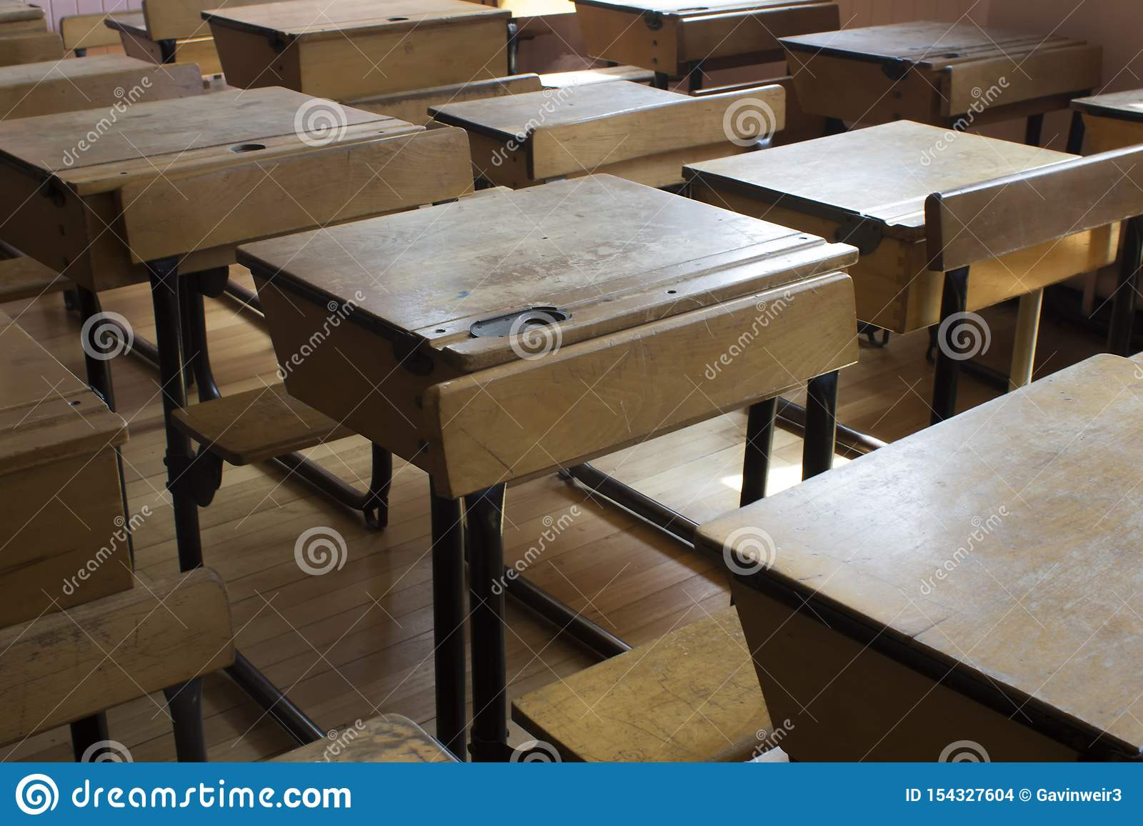 A old style school desk stock photo. Image of closeup ...