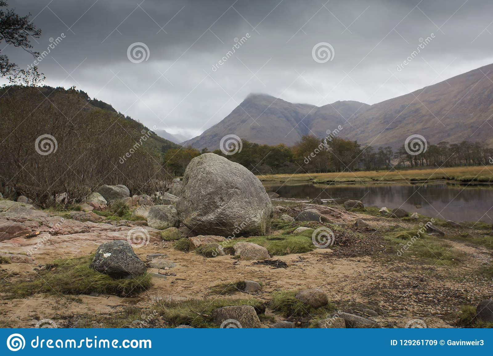 A Peaceful Scottish Glen On A Cold Morning   Stock Image