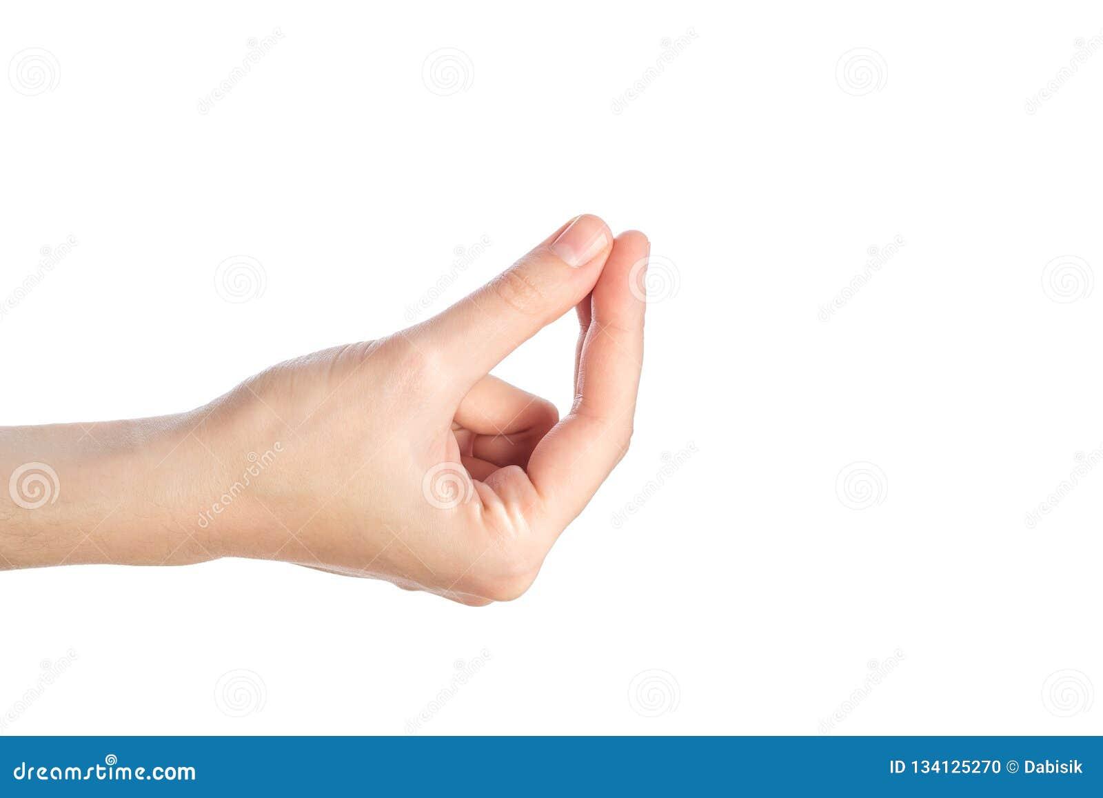 Gwsture femelle d exposition de main où est mon argent d isolement sur un blanc