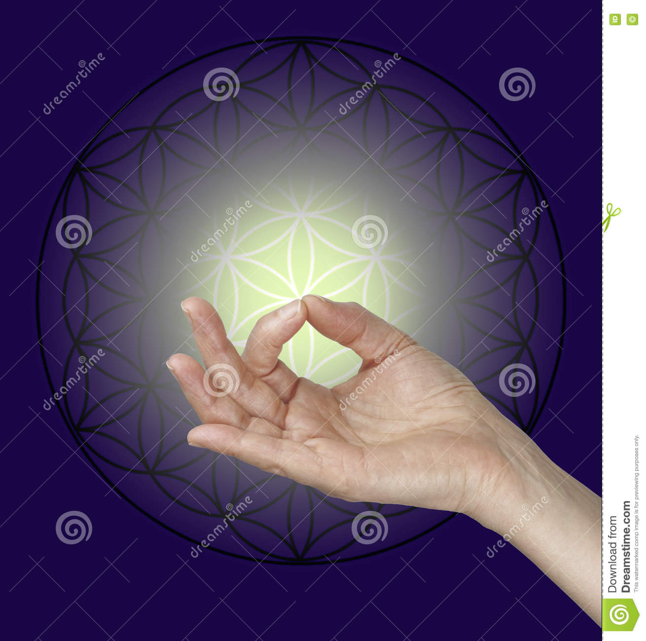 Gyan Mudra And The Flower Of Life Symbol Stock Photo - Image