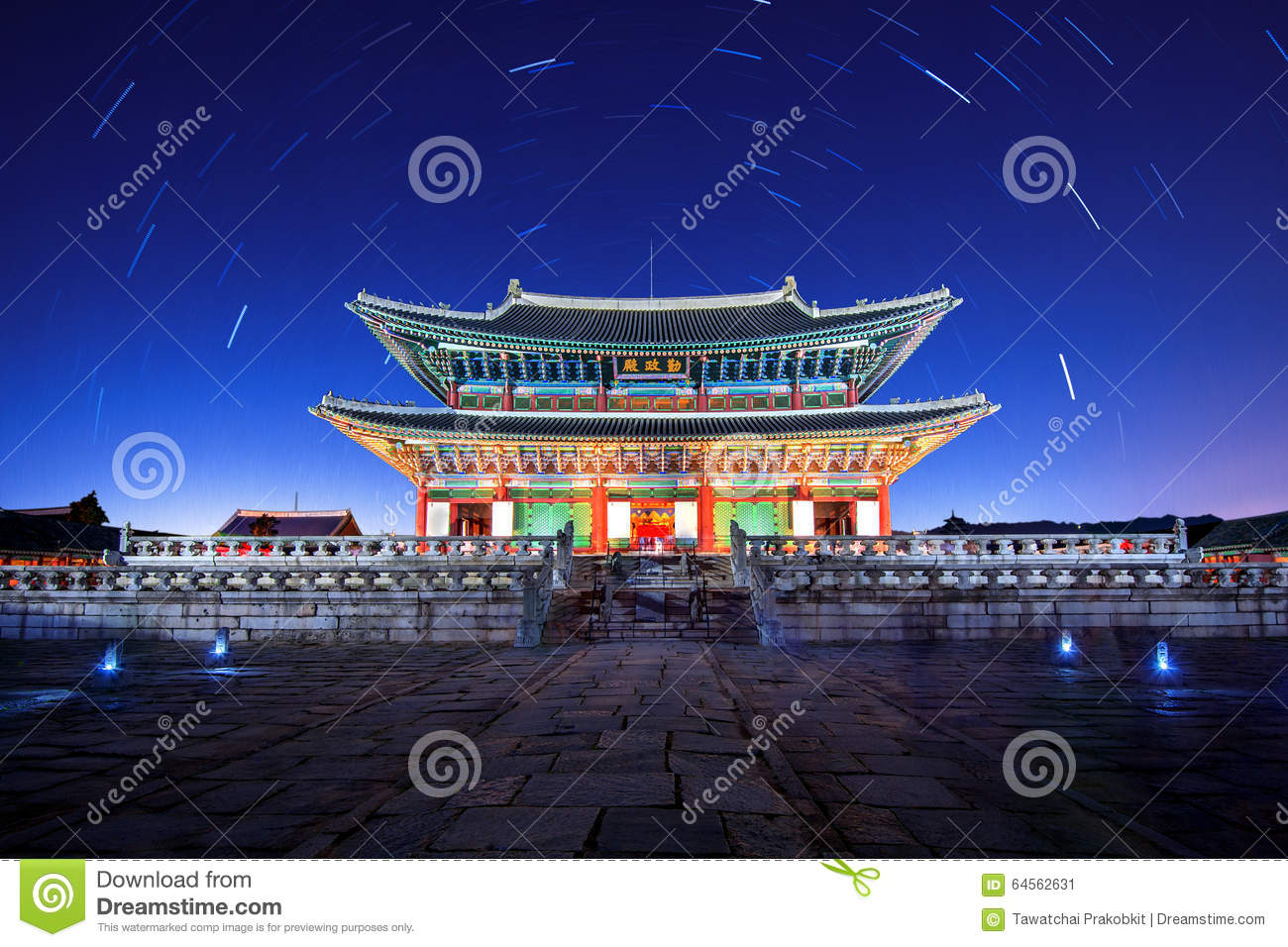 gyeongbokgung palace with star trails at night in korea stock image image of colorful fort. Black Bedroom Furniture Sets. Home Design Ideas