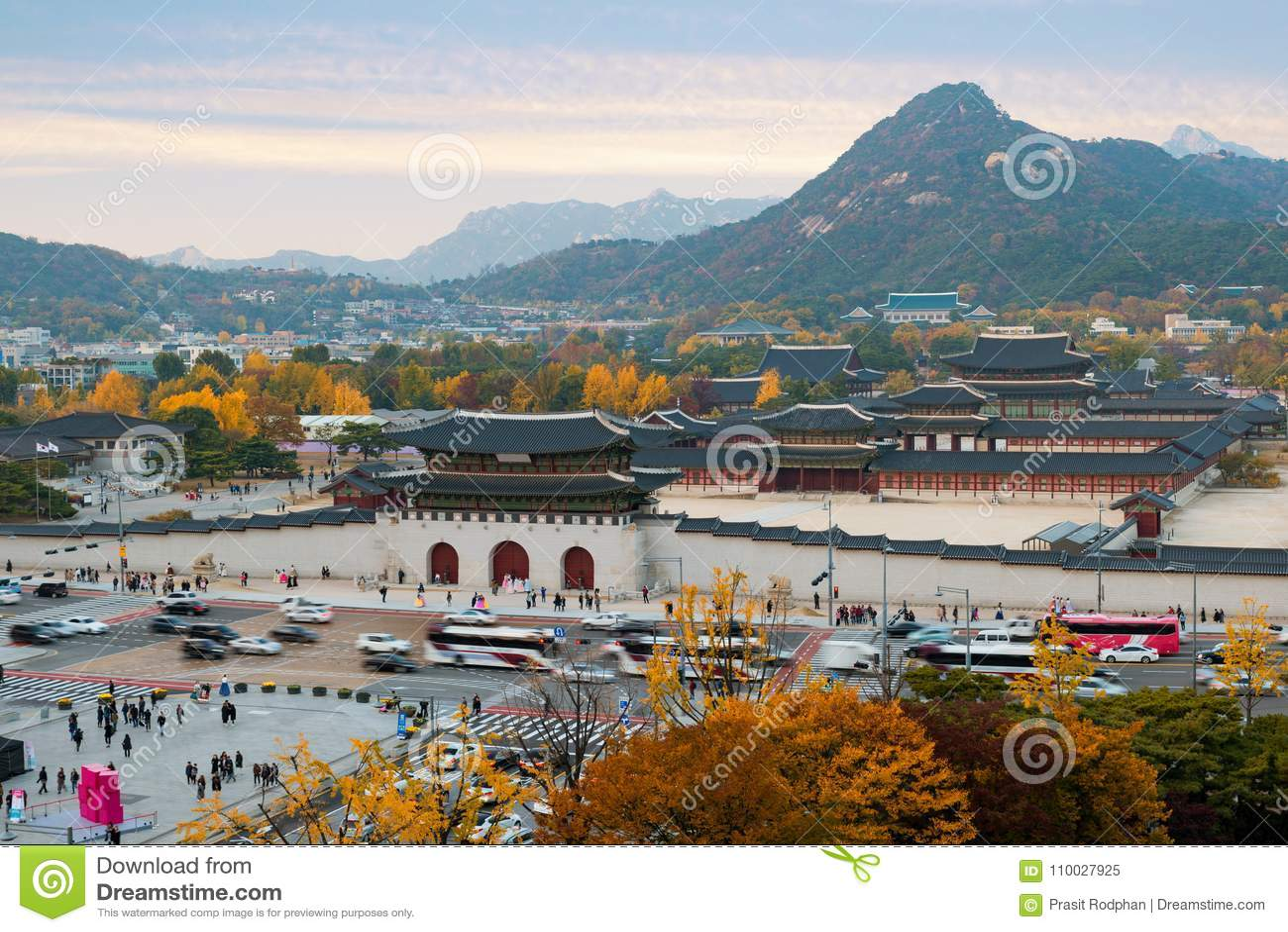 Gyeongbokgungpaleis in de Herfst in Seoel, Zuid-Korea