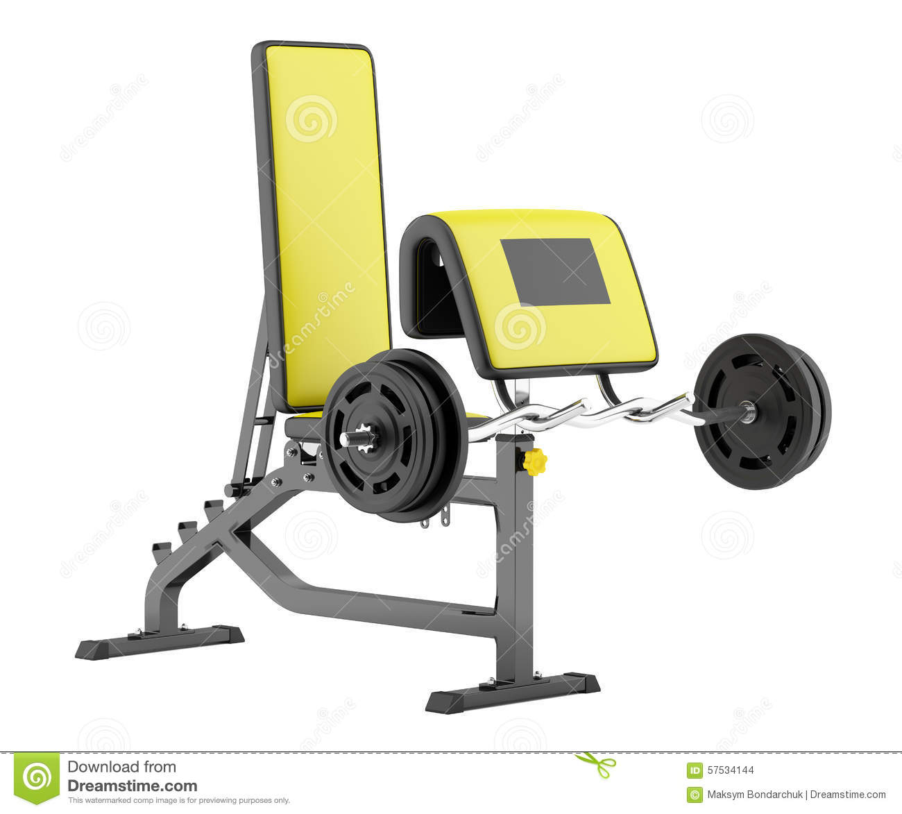 Gym Arm Curl Bench With Barbell Isolated On White Stock Illustration Image 57534144