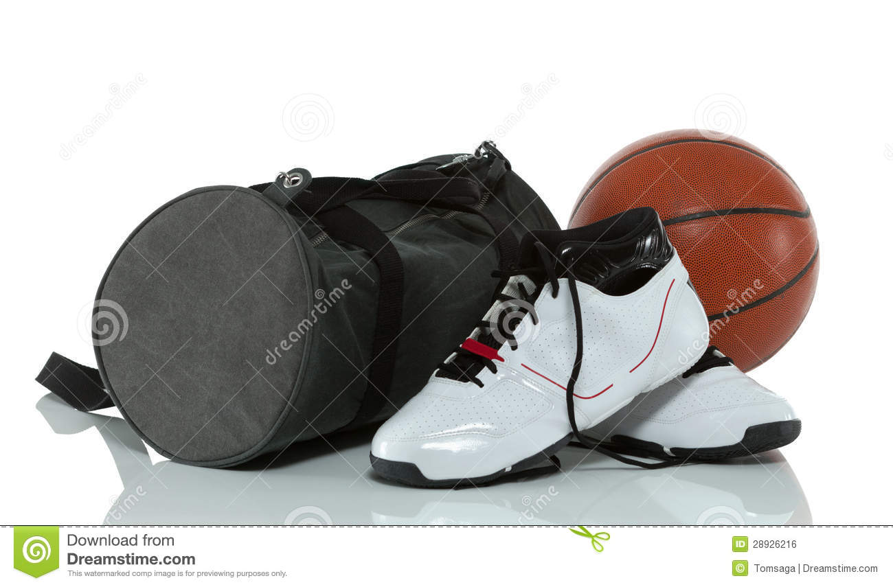 gym bag with basketball and shoes royalty free stock image image