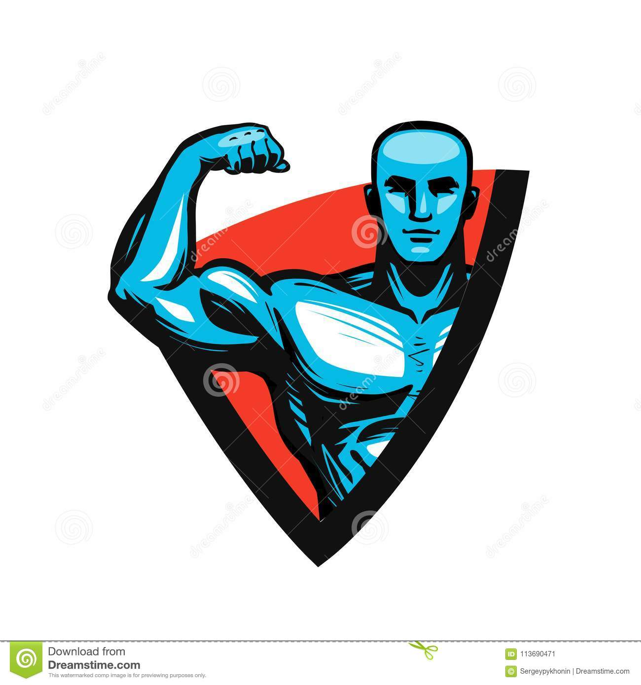 Gym, Bodybuilding, Fitness Logo Or Label  Muscle Male Or