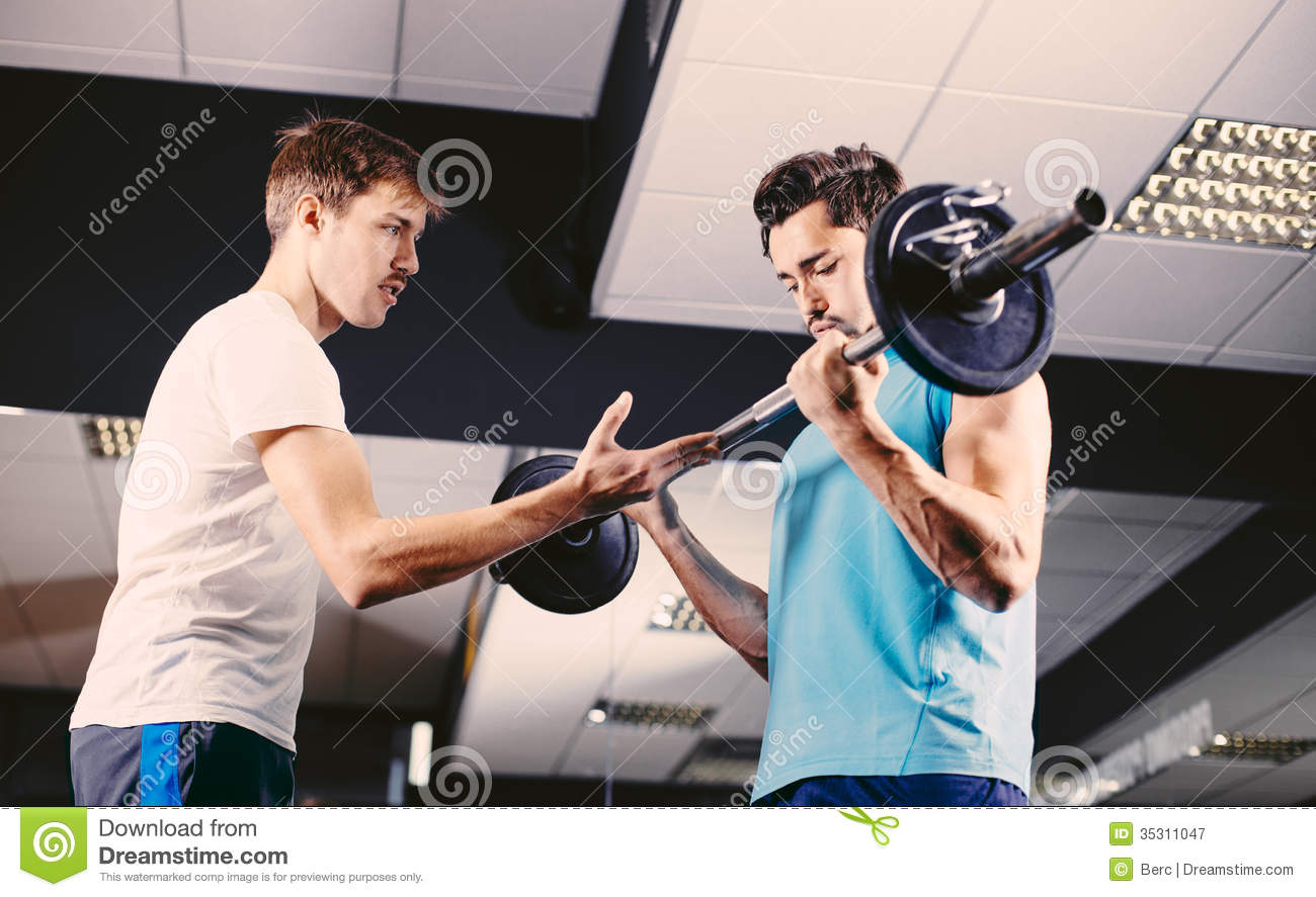 Gym Buddies Working Out Bicep Exercise Stock Image Image