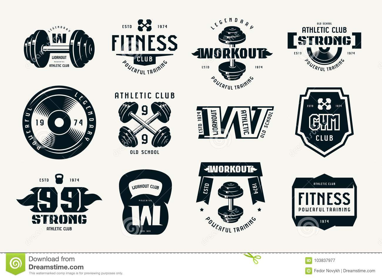 gym club fitness and workout badges and logo