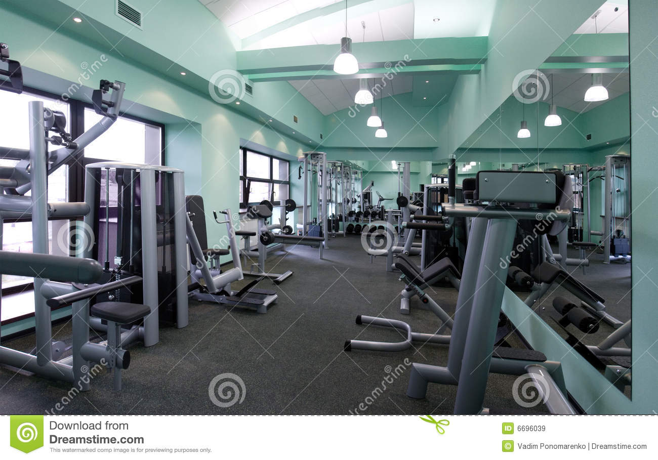 Gym equipment room stock image of strong training