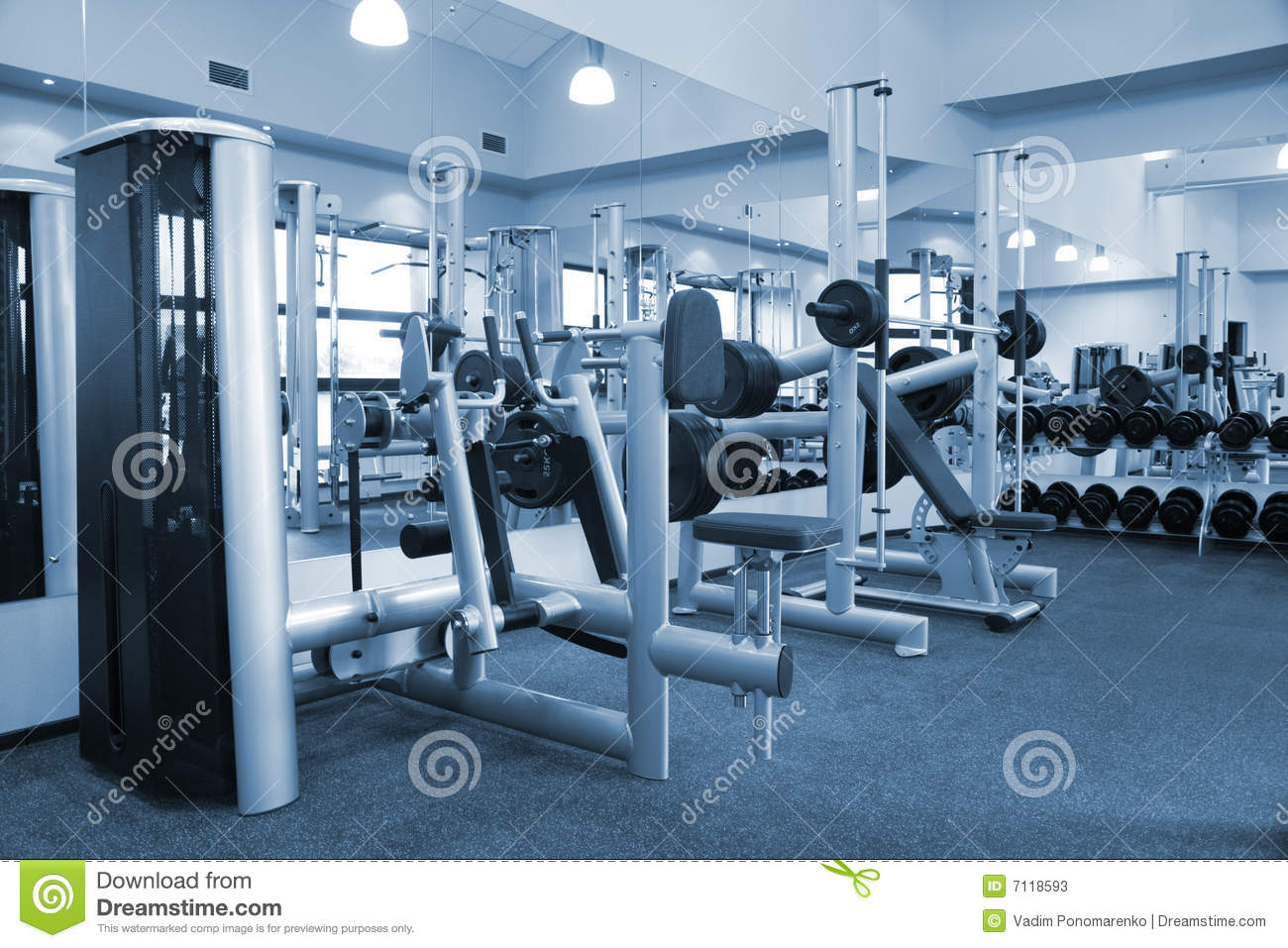 Gym equipment room stock image of power stationary