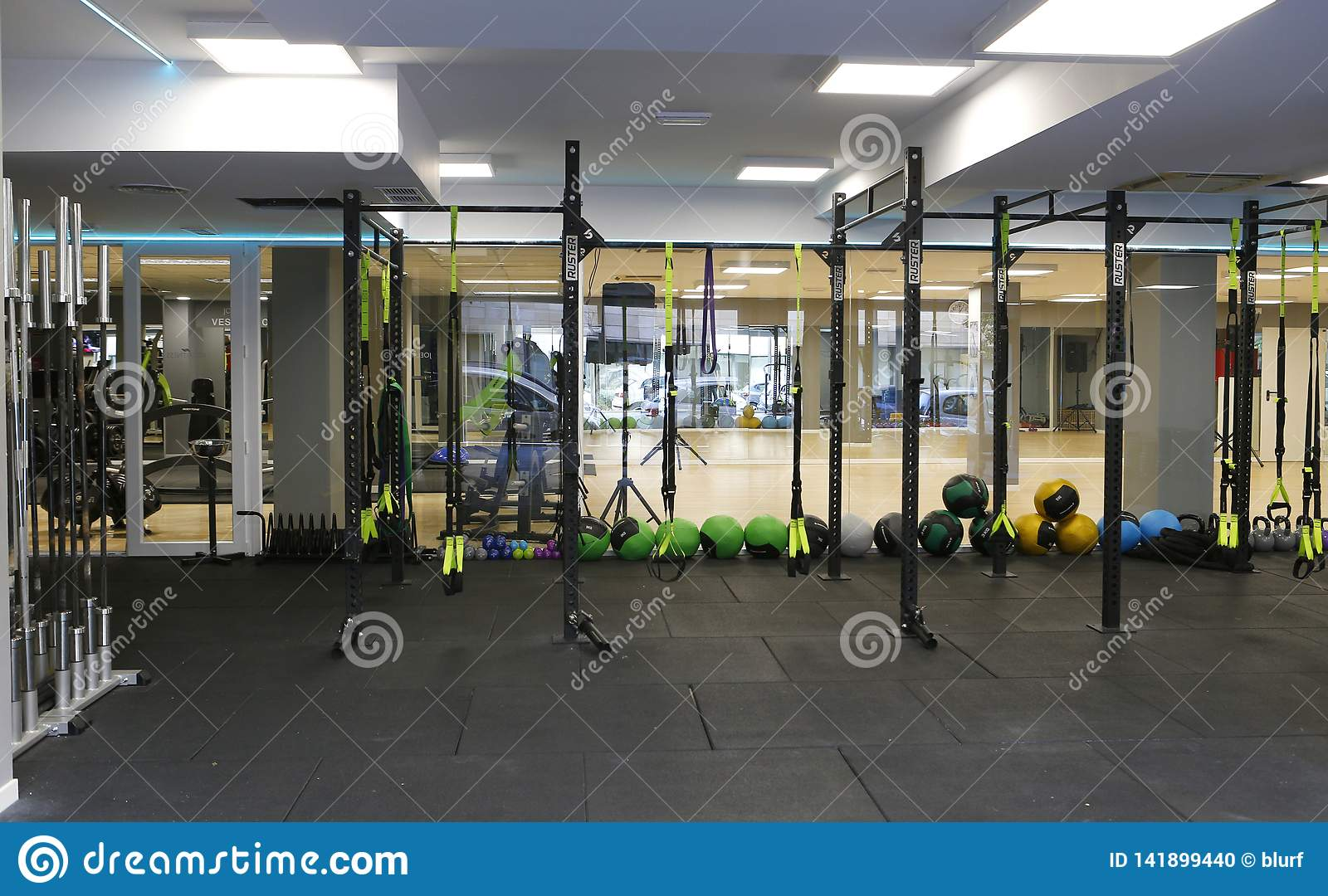 Gym equipment on a gym room detail editorial image image of