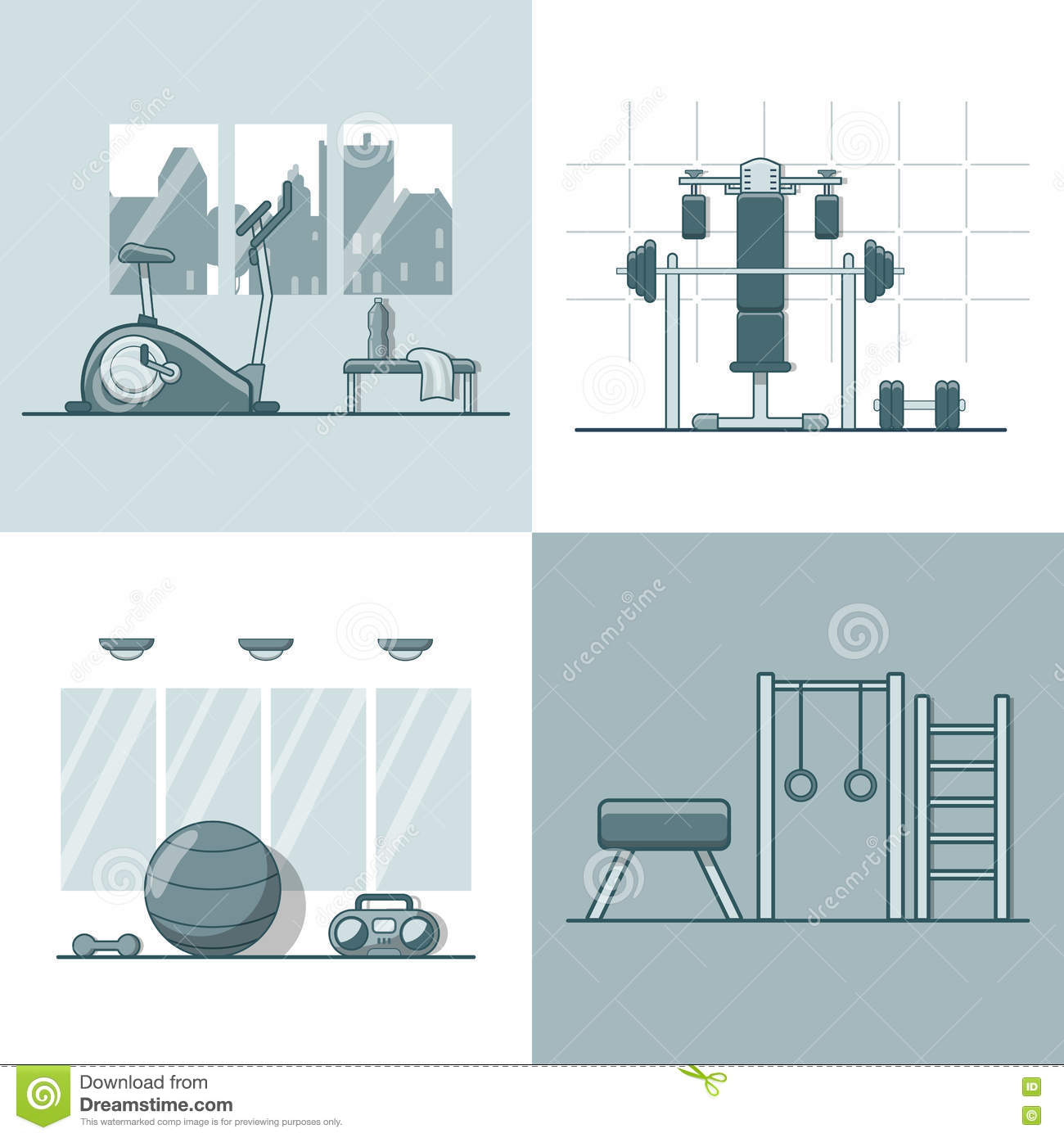 Gym exercise equipment room interior indoor set l stock