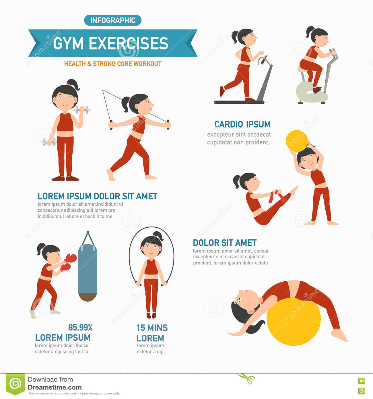 Gym exercise stock vector image - Posters para gimnasios ...