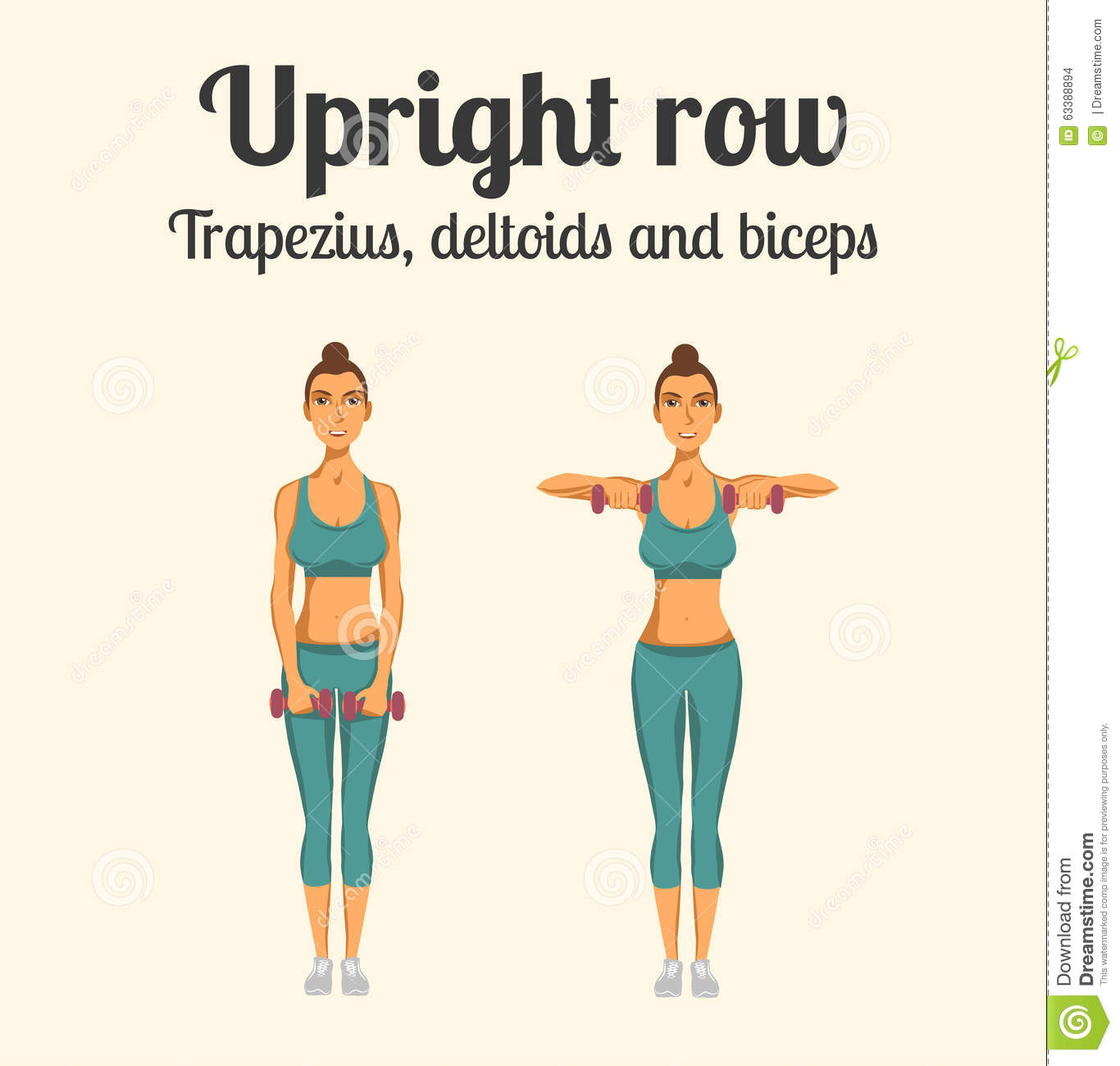Gym Exercise: Upright Row. Vector Illustration Stock