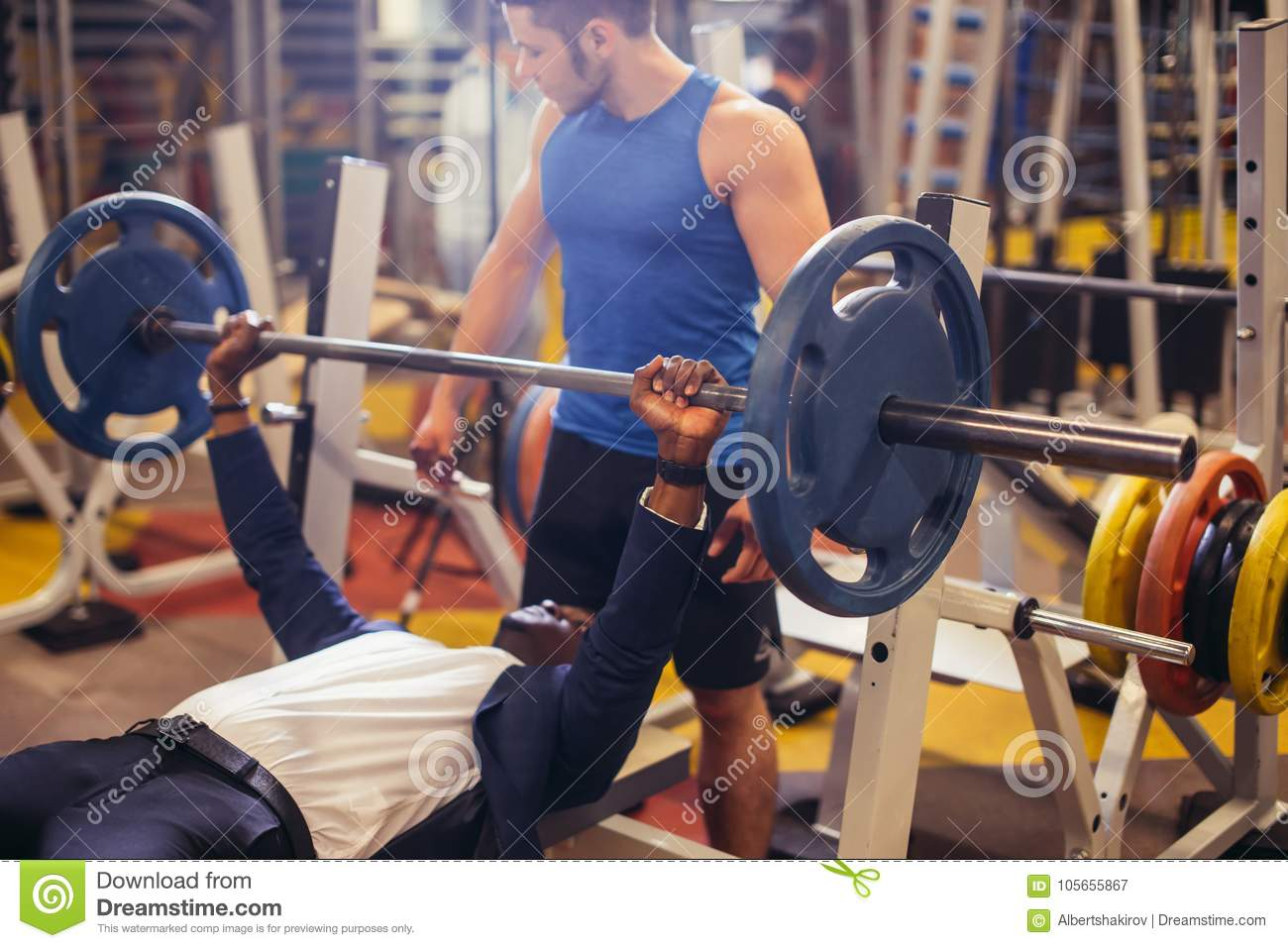 Incredible In Gym Exercising Chest On Bench Press Stock Image Image Ibusinesslaw Wood Chair Design Ideas Ibusinesslaworg