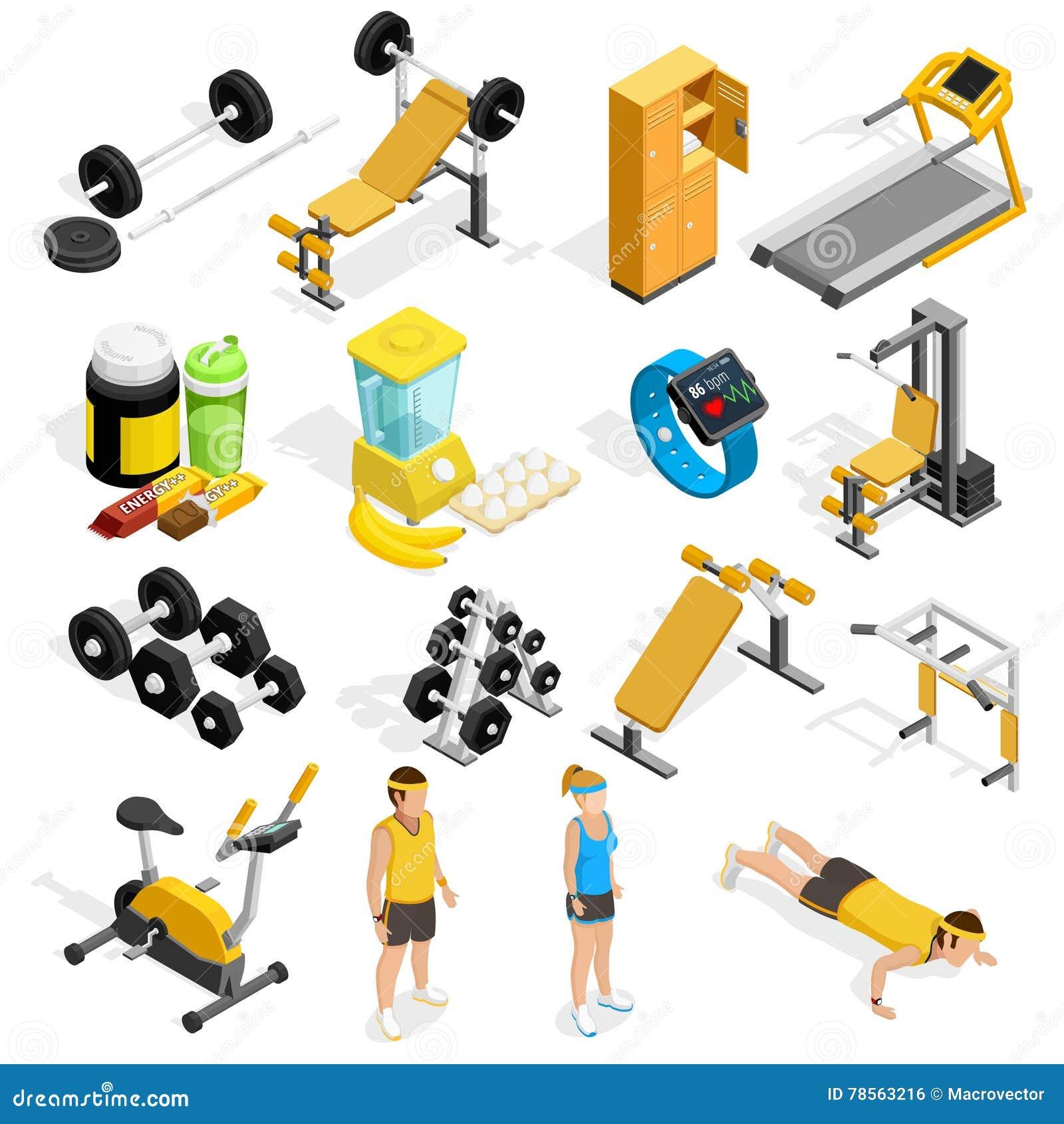 Isometric Training Equipment: Gym Equipment Isometric Vector Illustration Cartoon Vector