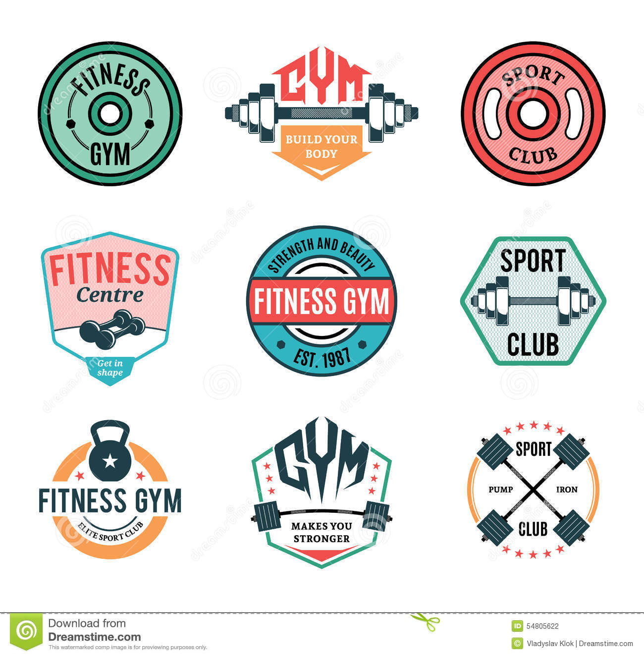 Fitness and gym club badges vector illustration for Gimnasio fitness club