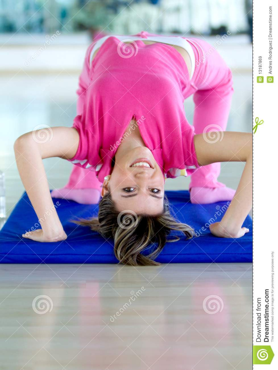 Gym Girl Bending Backwards Stock Image Image Of Female