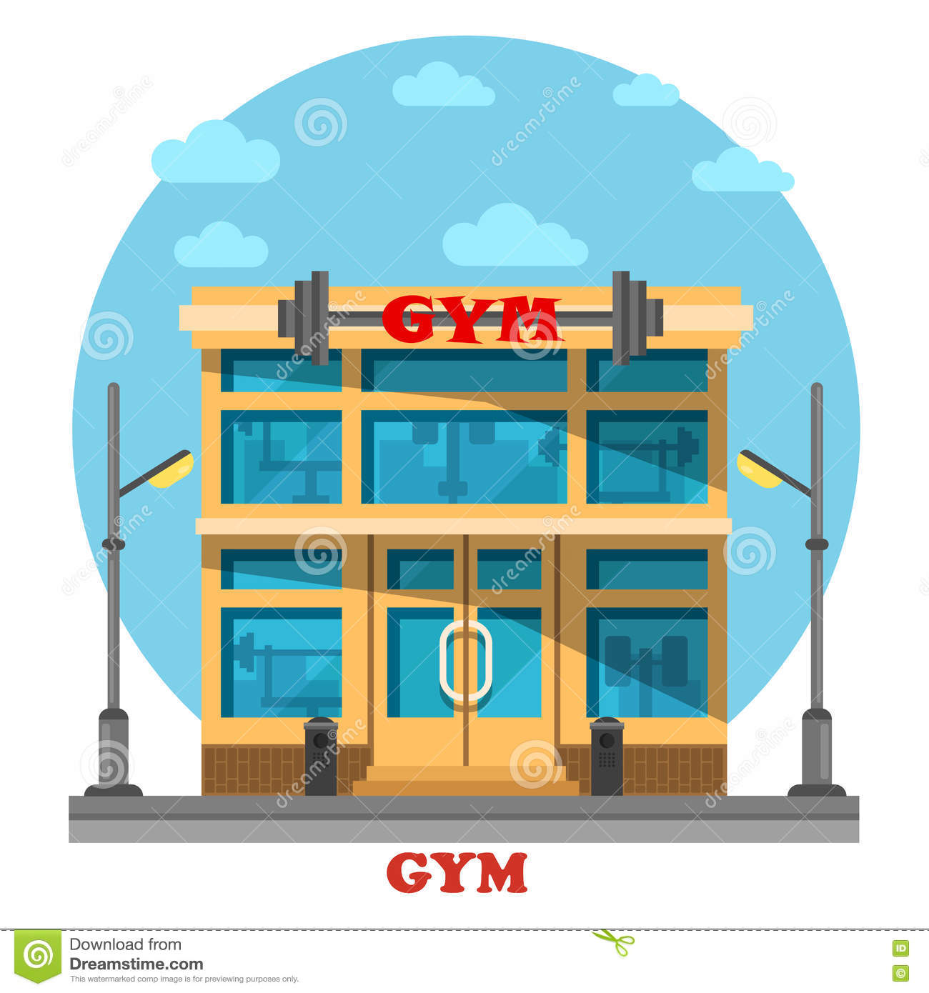 Gym or gymnasium fitness center architecture stock vector