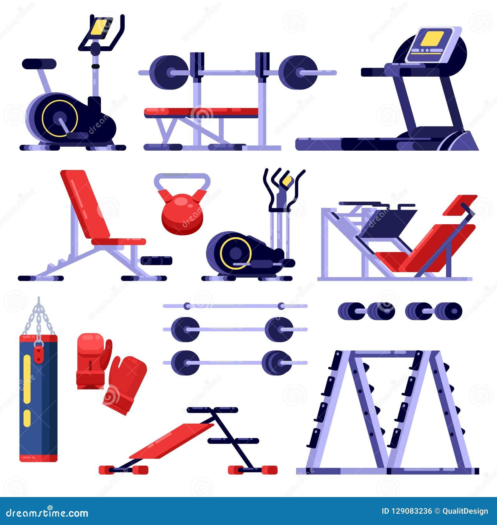 Gym i sprawność fizyczna klubu wyposażenia set Stażowy aparat, wektor odizolowywał ilustrację Bodybuilding maszyn ikony