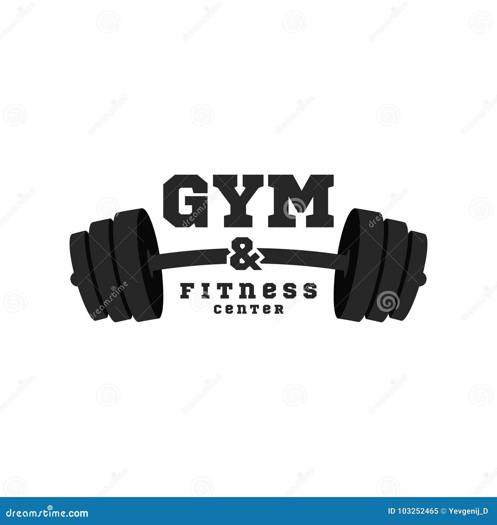 Gym logo Sprawności fizycznej centrum loga projekta szablon Czarny barbell odizolowywający na białym tle