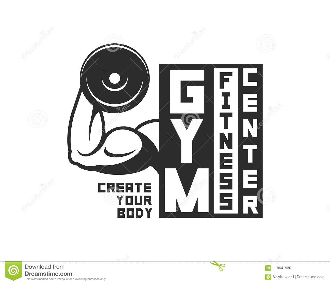 Gym Logo Template. Monochrome Style Stock Vector - Illustration of ...