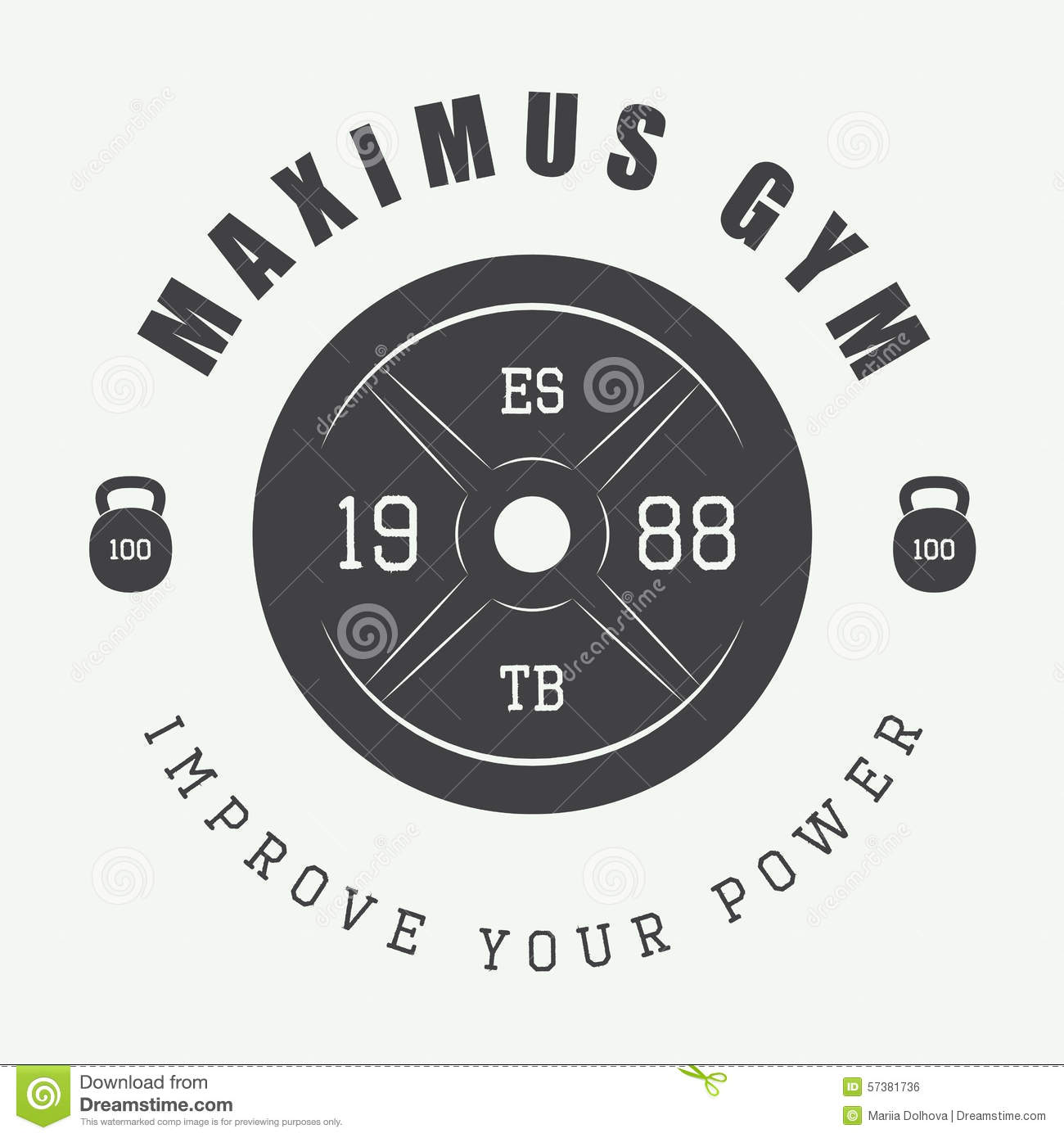 Gym Logo In Vintage Style. Vector Illustration. Stock
