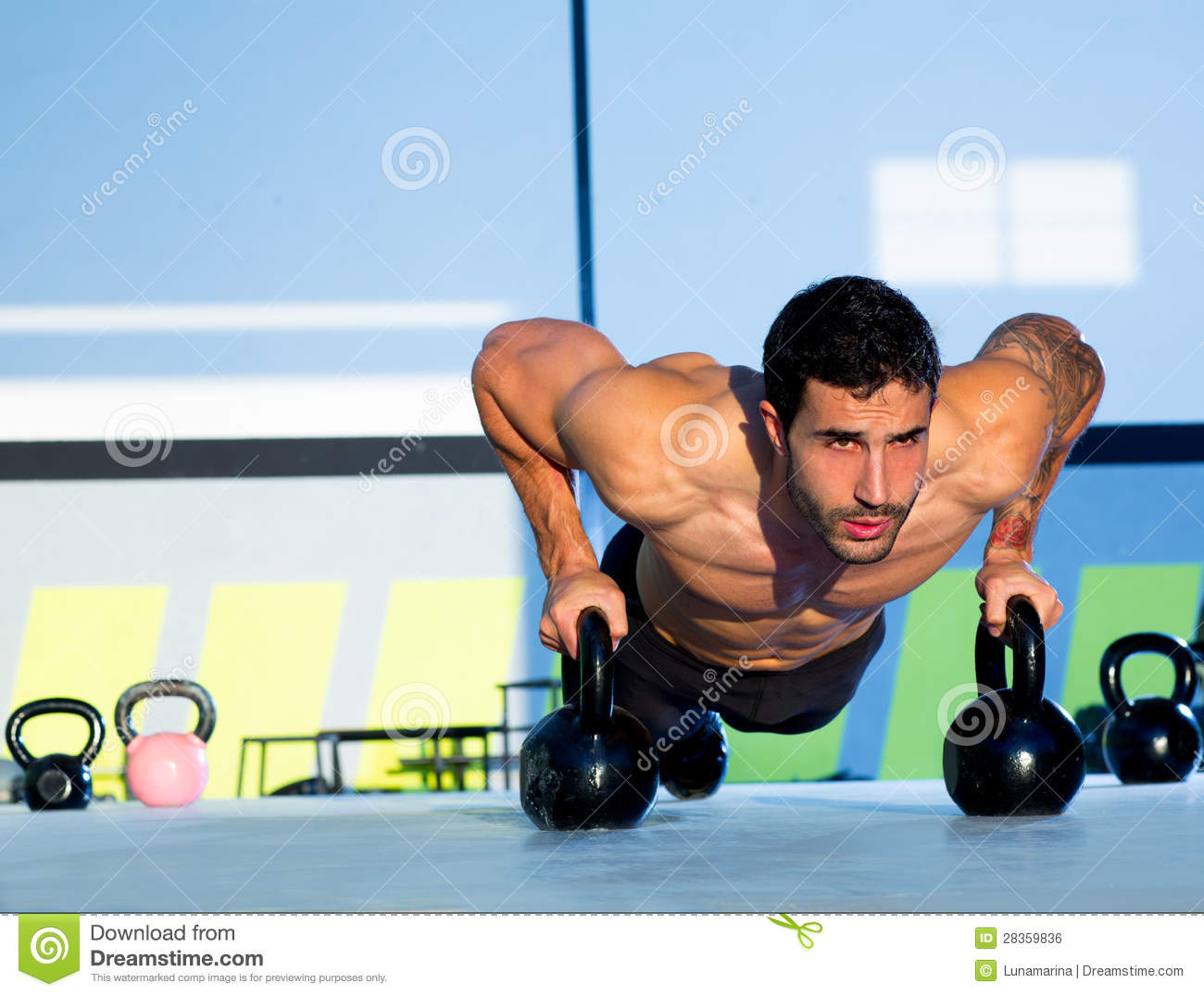 Gym Man Push Up Strength Pushup With Kettlebell Royalty