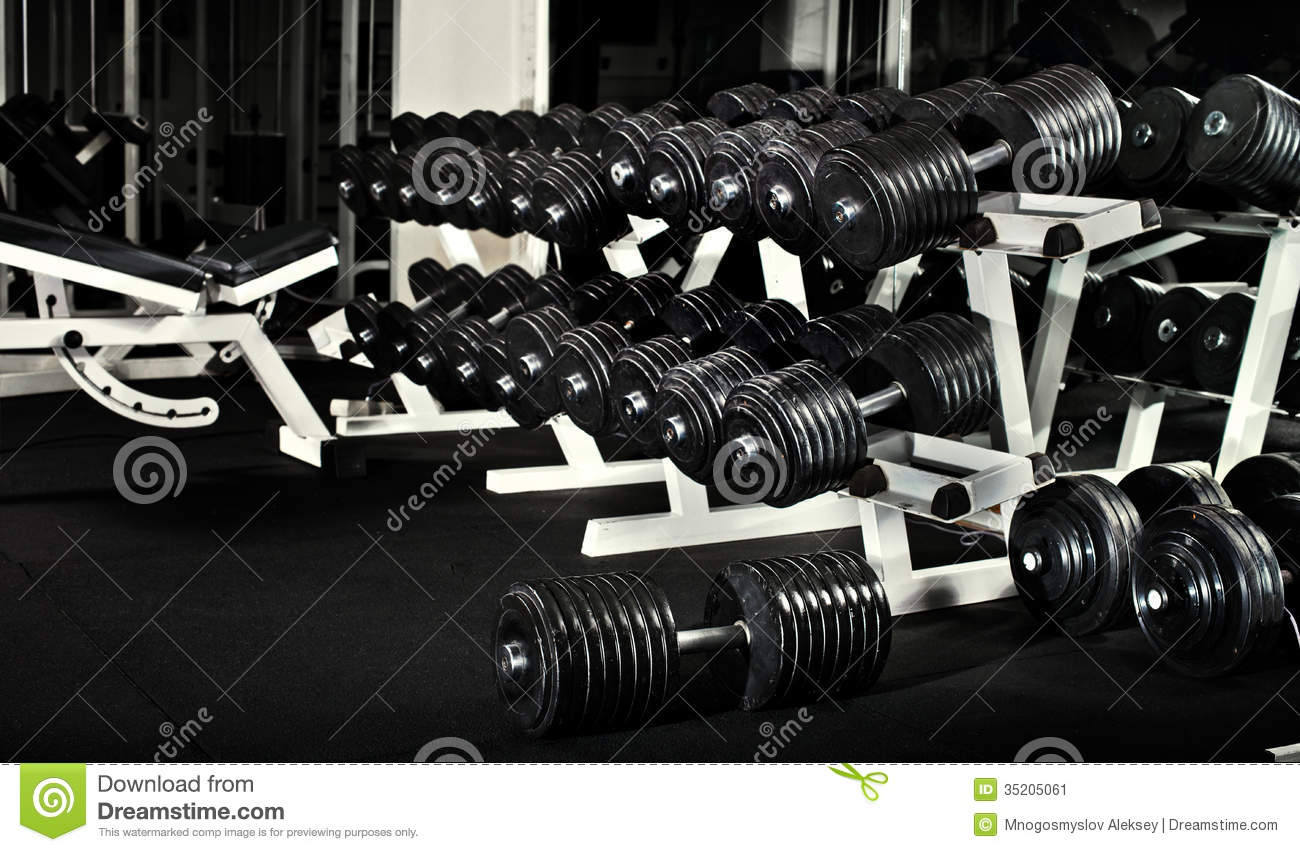 Gym stock image of black photo sports room