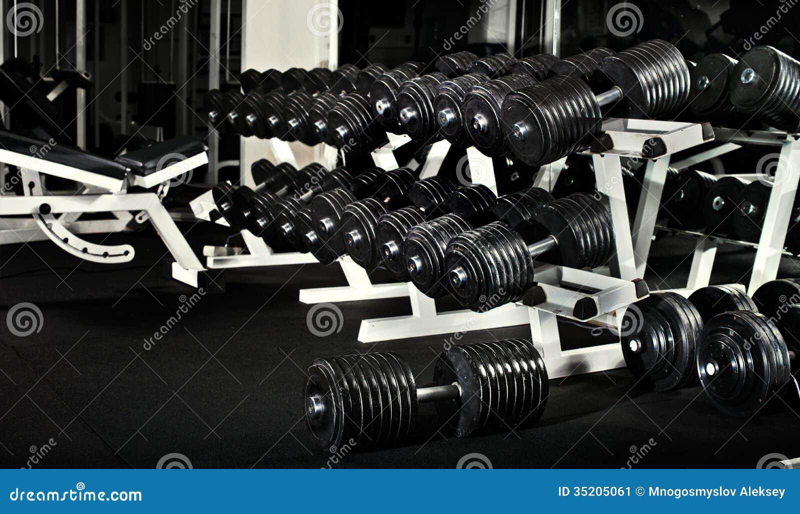 Gym stock image of black photo sports room