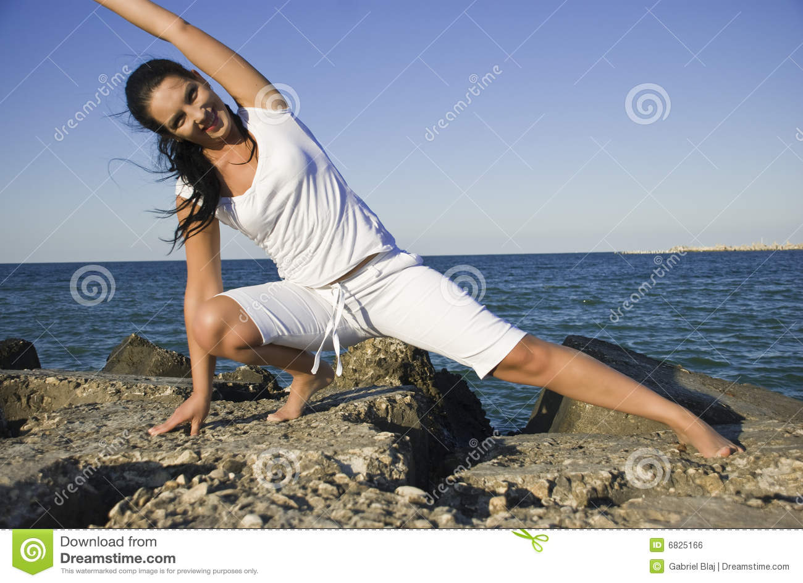 Gym on rocks at sea
