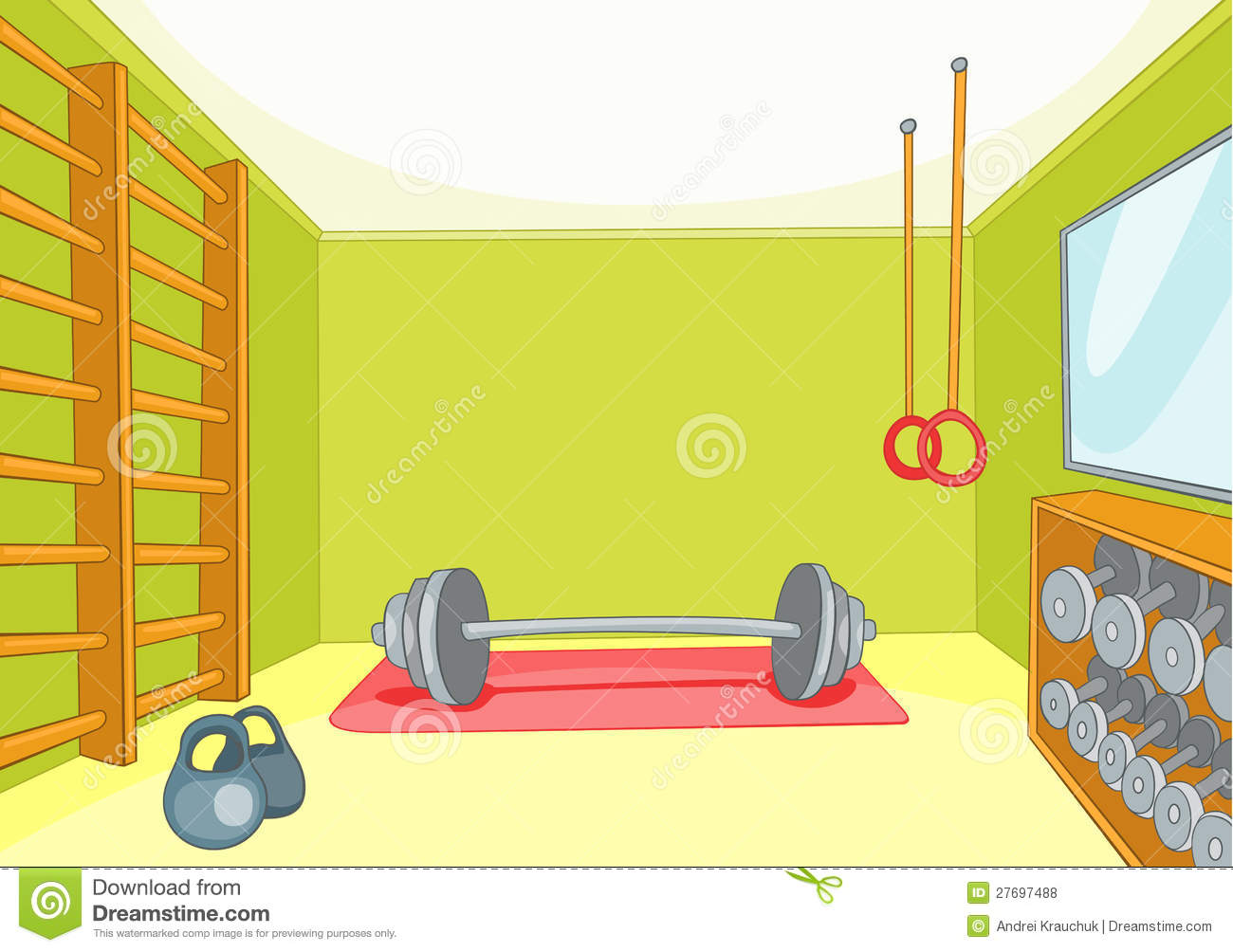 Gym room stock vector illustration of background health