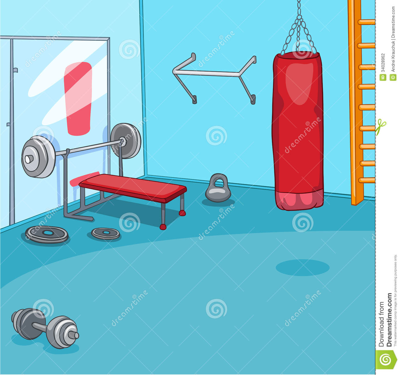 Gym room stock vector image of mirror selective