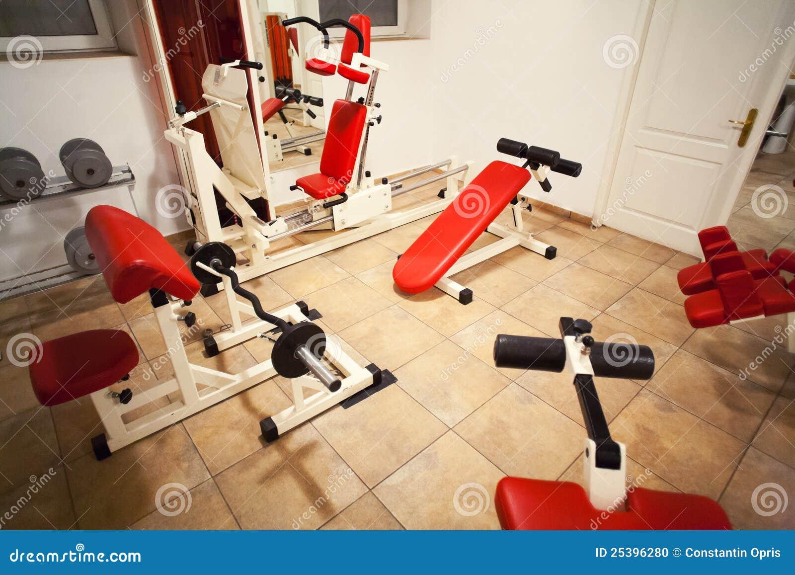 Gym room training machines stock photo image