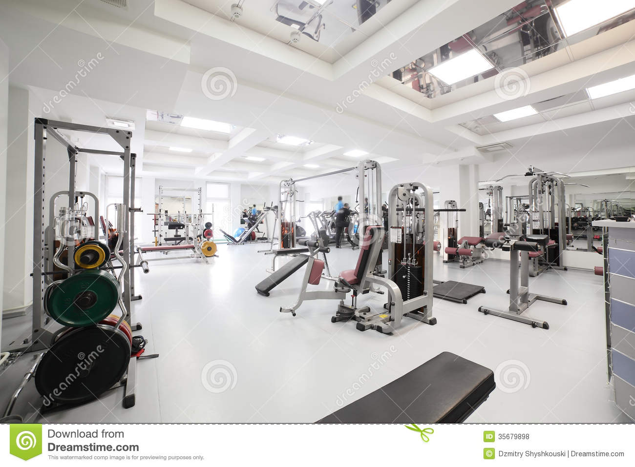 Gym with special equipment empty royalty free stock