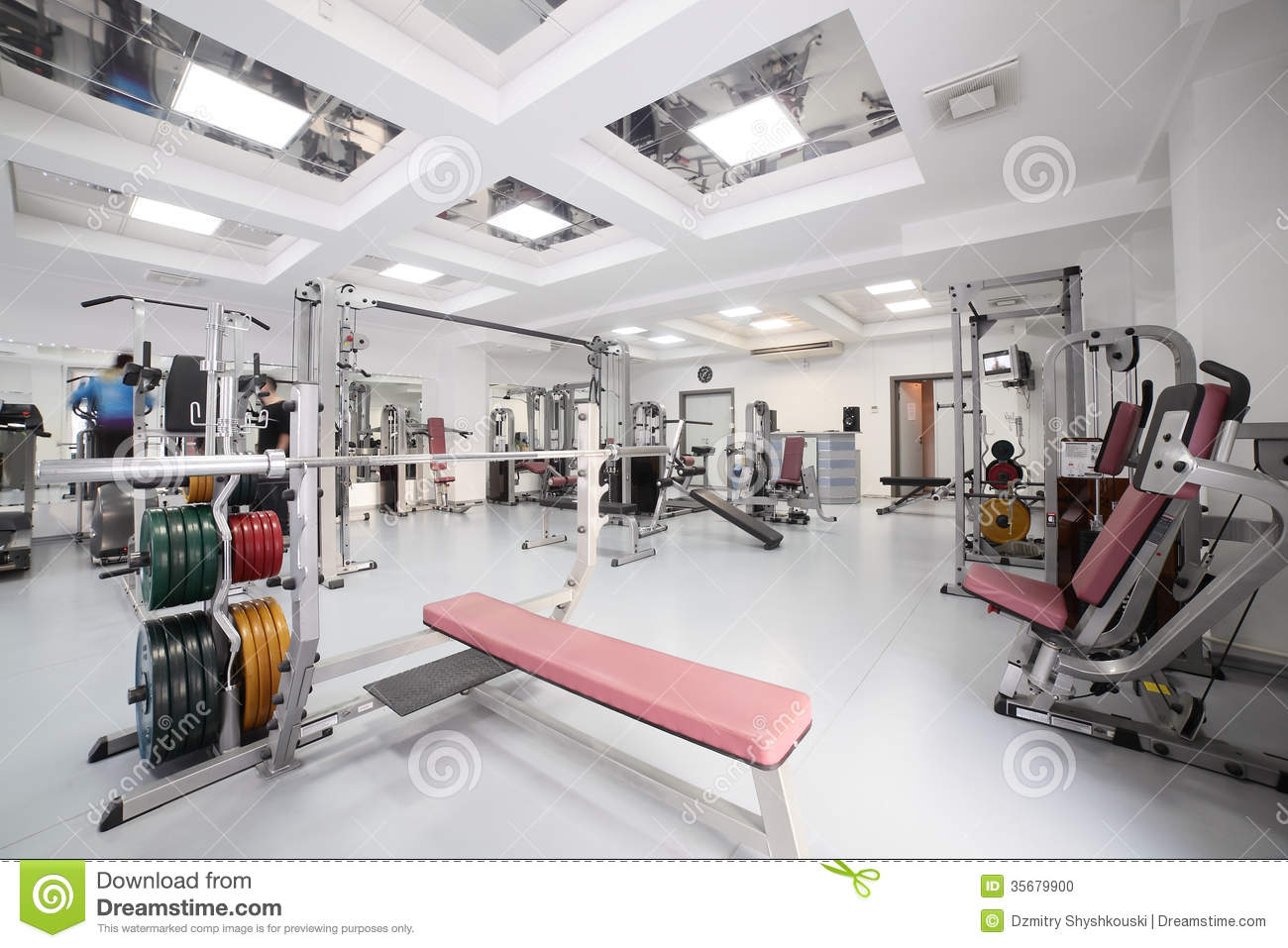 Gym with special equipment empty stock photo image