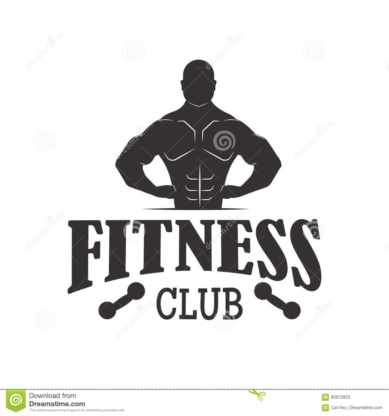 Gym sport club fitness emblem vector illustration vector for Club piscine sport fitness