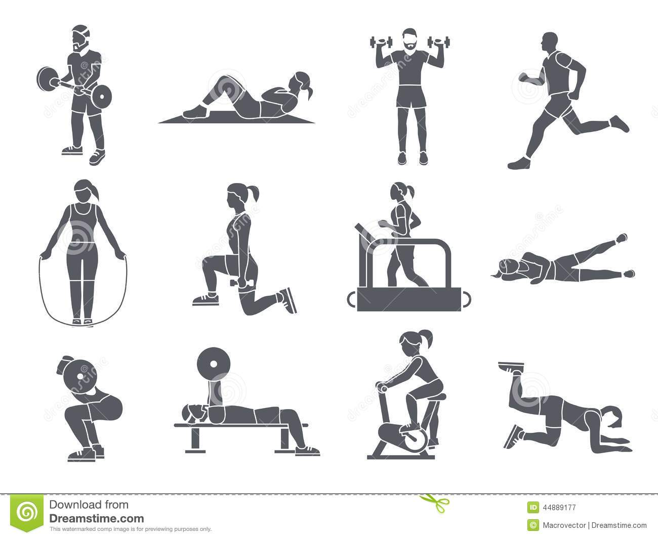 Gym Sport Exercises Icons stock vector. Image of equipment ...
