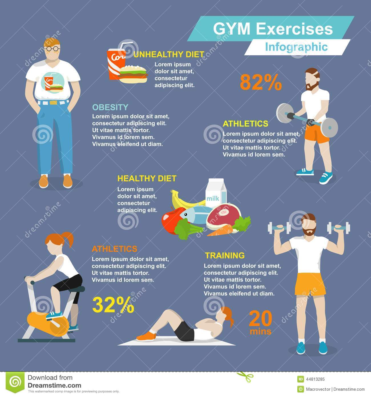 Gym Sport Exercises Infographic Stock Vector - Image: 44813285
