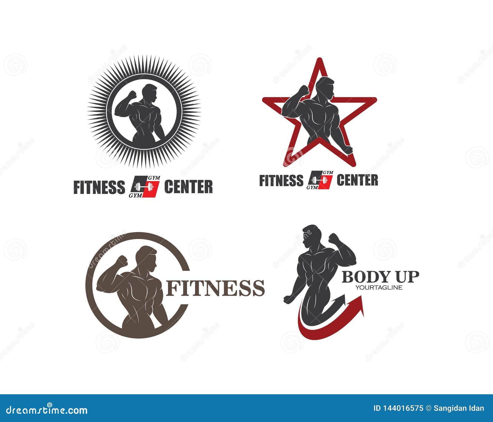 Gym, sprawności fizycznej ikony logo szablonu ilustracyjny wektor