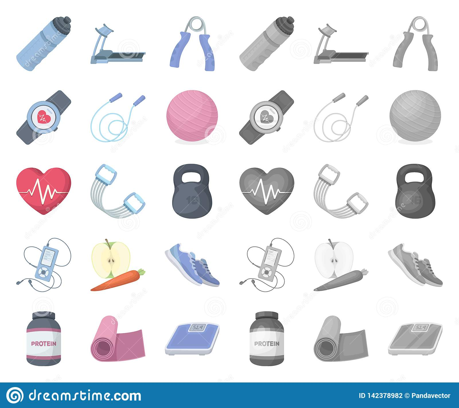 d76e7eb847a Gym and training cartoon, mono icons in set collection for design. Gym and  equipment vector symbol stock web illustration.