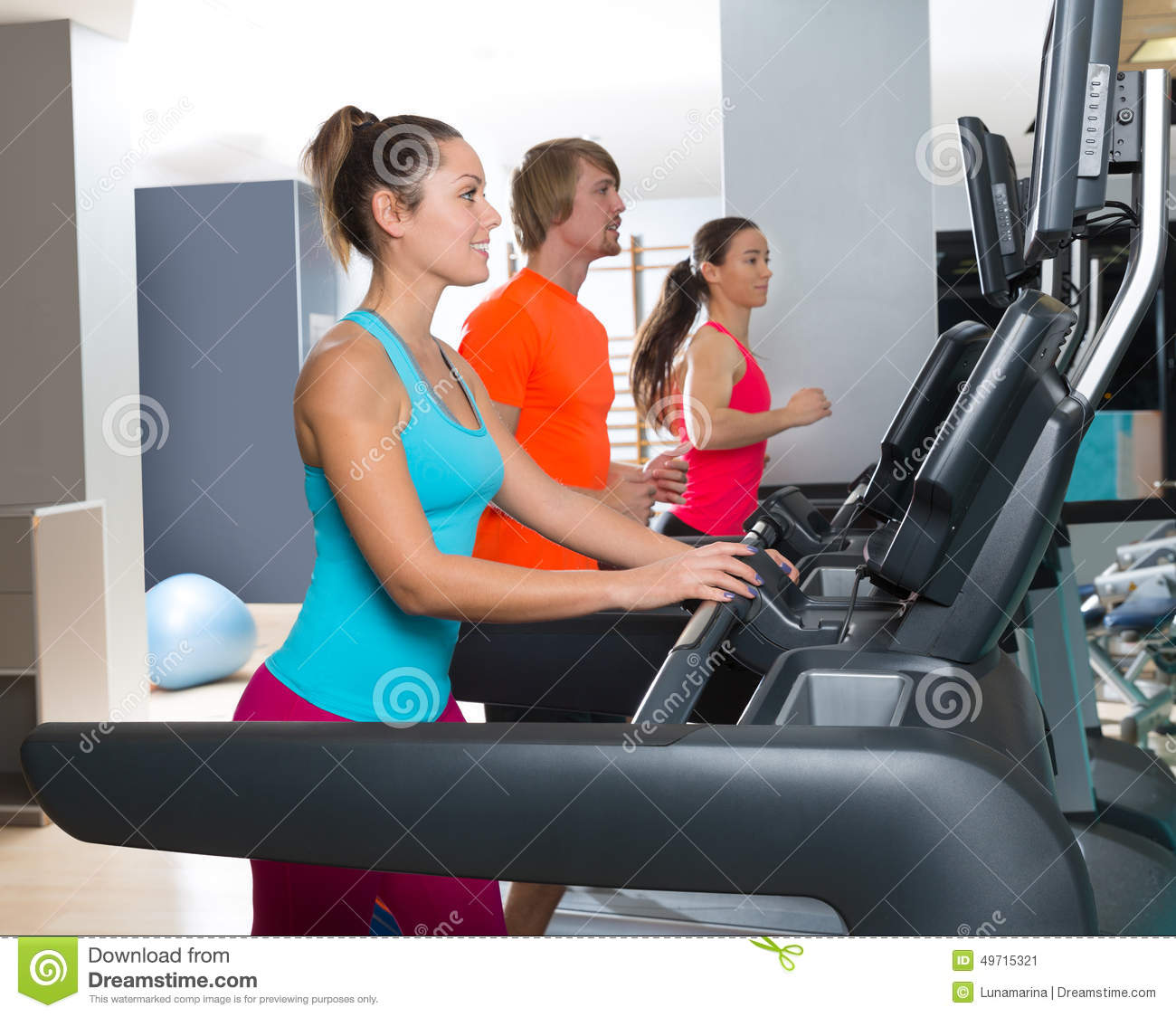 Amino Z Team Womens Weight Lifting Bodybuilding Gym: Gym Treadmill Group Running Indoor Stock Photo