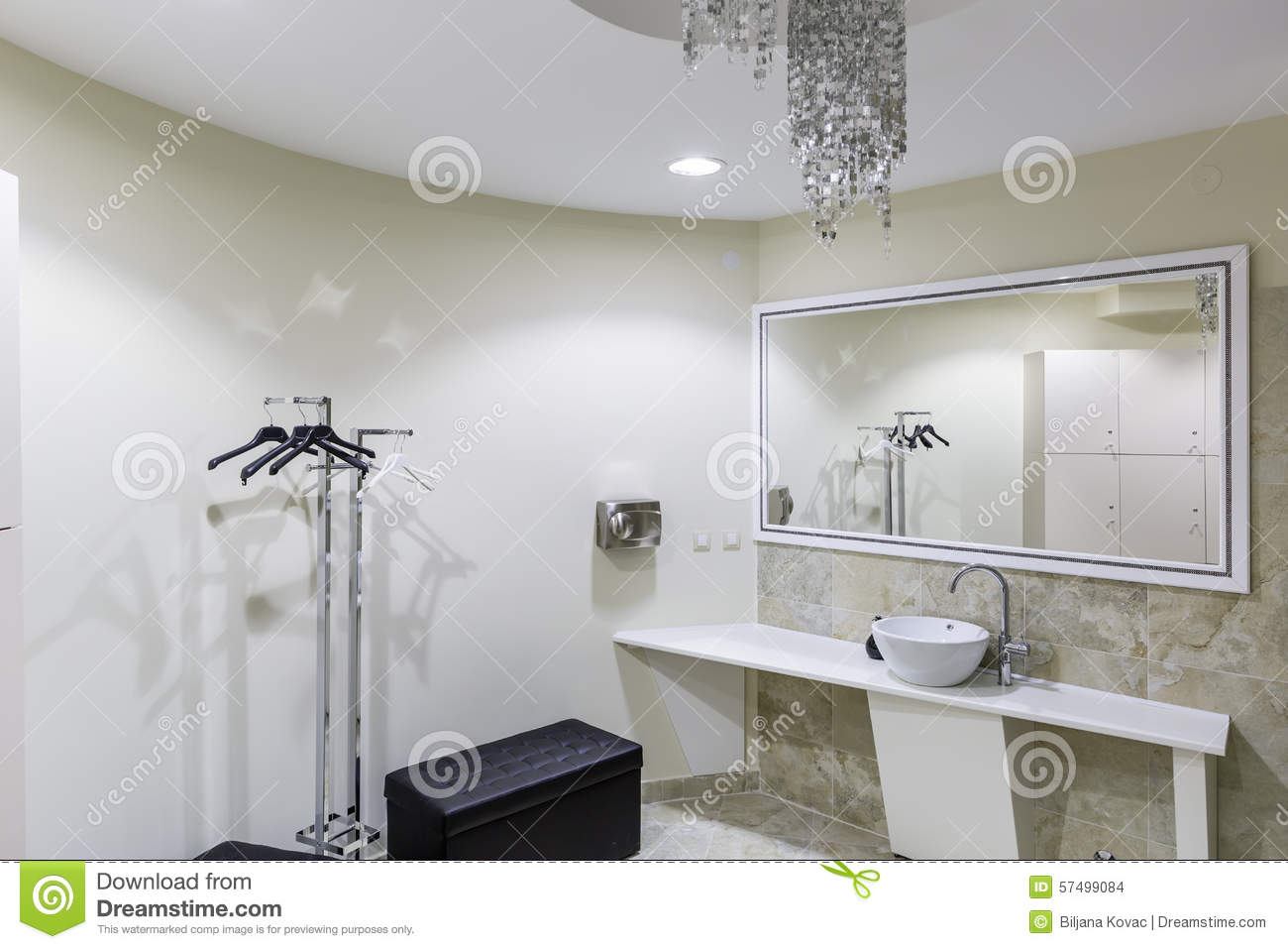 Gym and wellness toilet stock photo image