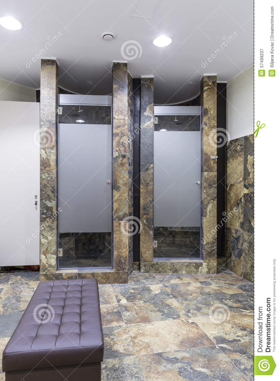 Gym and wellness toilet stock image of tiles